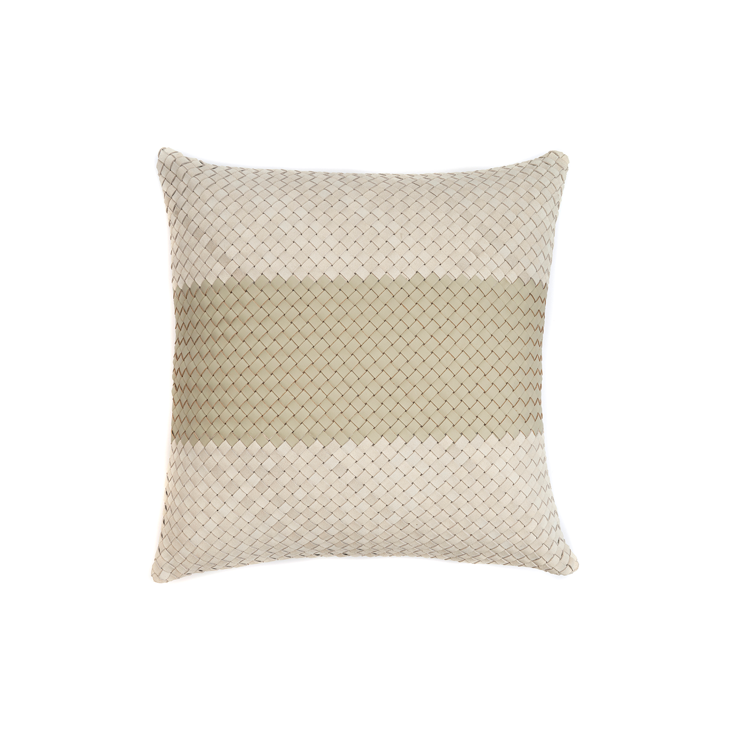 Mosaico Faixa Bicolor Woven Leather Cushion Square - The Mosaico Faixa Bicolor Woven Leather Cushion is designed to complement an ambient with a natural and sophisticated feeling. This cushion style is available in pleated leather or pleated suede leather. Elisa Atheniense woven handmade leather cushions are specially manufactured in Brazil using an exclusive treated leather that brings the soft feel touch to every single piece.   The front panel is handwoven in leather and the back panel is 100% Pes, made in Brazil.  The inner cushion is available in Hollow Fibre and European Duck Feathers, made in the UK.  Mosaico Faixa Bicolor Woven Leather Cushion is available in multiple colours of leather and suede leather. Please enquire for colour combination, see colour chart for reference.   | Matter of Stuff