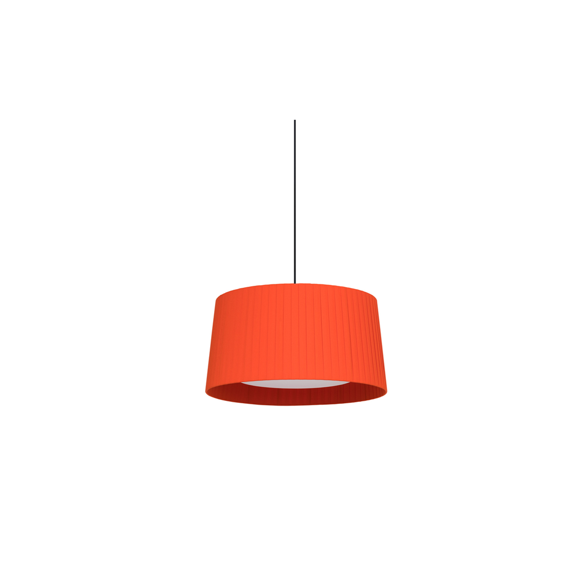 GT5 Pendant Lamp - The GT5 and GT6 are ideal for average-size spaces or domestic use. The pendant lamps feature beautiful ribbon shades that add elegance and a touch of colour to a neutral room. This is a colourful family that varies in size without altering its essence, creating rich luminous tones. With the light on, the shade provides a warm light, rich in nuances. Light source is not included, it is available to purchase separately. Please enquire for it. Satin nickel and textured black finish are not available with white cable.  | Matter of Stuff