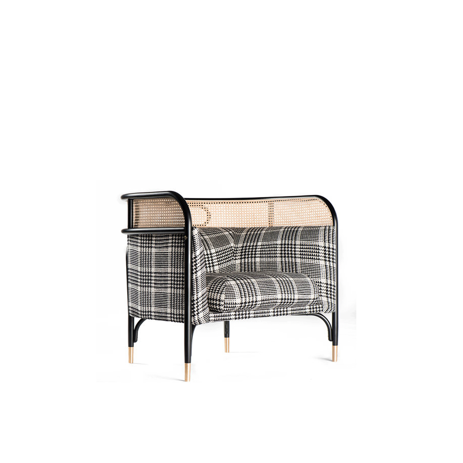 Targa Lounge Chair - This lounge chair will add a striking accent to a classic or contemporary decor. Its enveloping structure has a frame in steam-bent beechwood with a top layer covered in Viennese straw. The interior of the chair, welcoming and intimate, is cushioned and upholstered with a refined tartan pattern that will complement any colour palette.