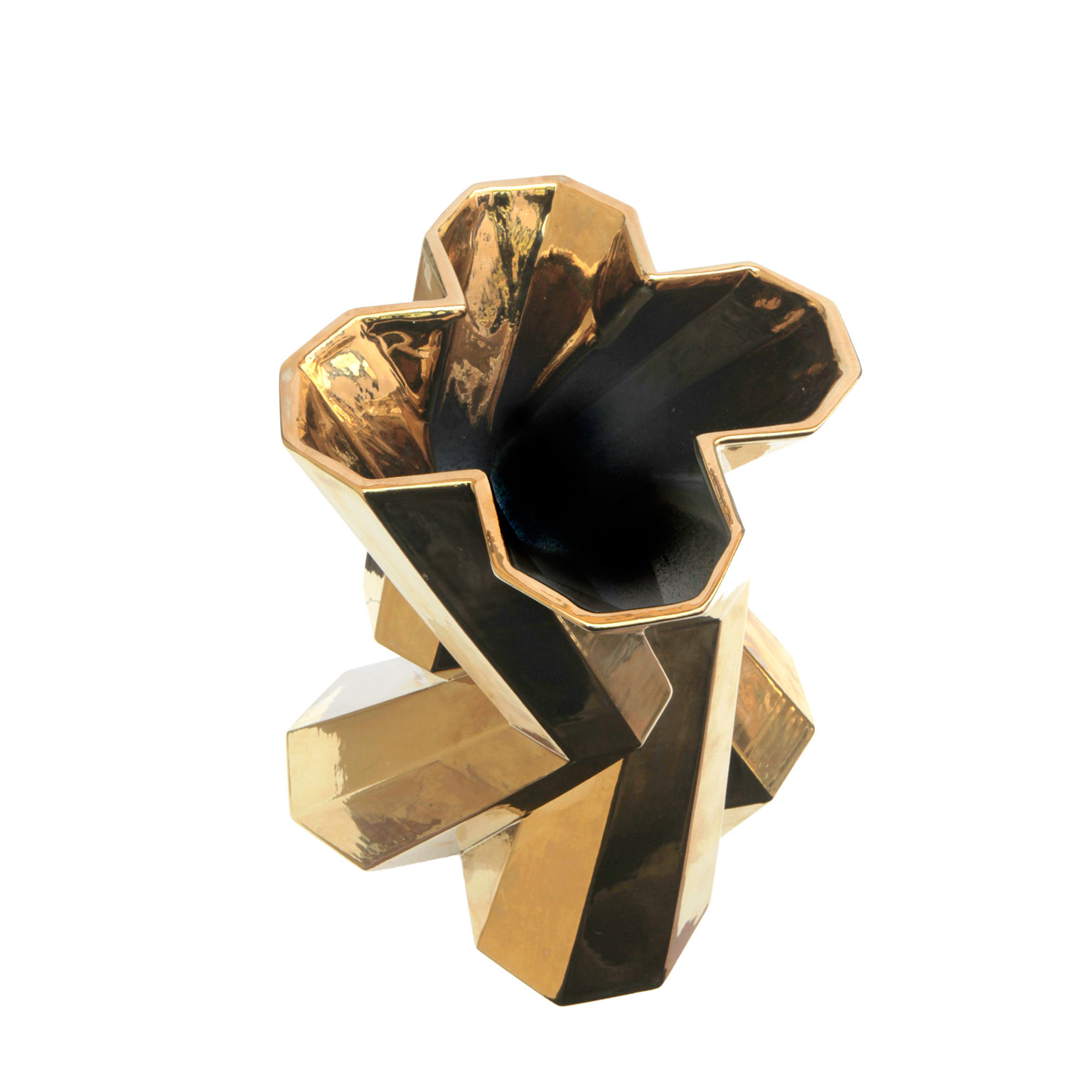 Fortress Castle Vase Gold - <p>Designer Lara Bohinc explores the marriage of ancient and futuristic form in the new Fortress Vase range, which has created a more complex geometric and modern structure from the original inspiration of the octagonal towers at the Diocletian Palace in Croatia. The resulting hexagonal blocks interlock and embrace to allow the play of light and shade on the many surfaces and angles. There are four Fortress shapes: the larger Column and Castle (45cm height), the Pillar (30cm height) and the Tower vase (37cm height). These are hand made from ceramic in a small Italian artisanal workshop and come in three finishes: dark gold, bronze and speckled white.</p>  | Matter of Stuff