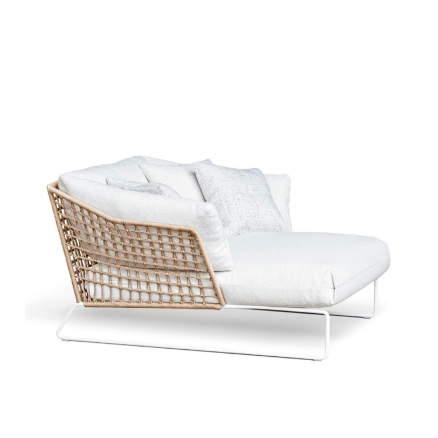 New York Soleil Garden bed - The New York Soleil outdoor collection adds a new element: the lounge armchair. The detailing of the ropes embraces a large comfortable seating area supported by the painted metal rod structure, available in white or anthracite grey.  The New York Soleil outdoor collection is a line of exclusive woven seating made entirely by hand. New York Soleil is the product of careful research into materials and the desire to maintain the unique original design. Woven nautical cords of different colours softly cover the painted metal rod structure. The ergonomic cushion is covered in a quick-drying, non-absorbent technical fabric, and its superior performance in the Martindale test guarantees abrasion resistance as well as hygienic breathability. In 2020 the collection adds a new element: the Lounge Armchair.  New York Soleil embodies outdoor living with a casual style and colourful charm. It is available in different blends and solid colours. The collection includes a sofa, a lounge armchair, an armchair, a pouf, a chair with or without armrests and a stool. Fully removable covers. Extra cushions are 40x40 cm and are available for purchase. Please enquire for more information and prices.   Materials Structure in 16 mm wire drawn for lounge armchair; in 12 mm wire drawn for sofa, armchair and pouf; in 11 mm wire drawn for chair with or without armrests and for stools. For all elements, structure is covered with plaiting of 4 mm diameter of polyester ropes. For sofa, armchair, chairs and stools, seat cushion is filled with a special 30 water-draining polyurethane, covered with polyester fiber 300gr/sqm on 100% polyester lining. Lounge armchair's seat cushion is made with flexible glass fiber slats inserted in the core of variable density polyurethane foam, covered with 600 gr/sqm polyester fiber and clothed with water-repellent heat-sealed fabric. Back and arm rests cushions are in polyester fiber in TNT fabric cover, clothed with water-repellent hea