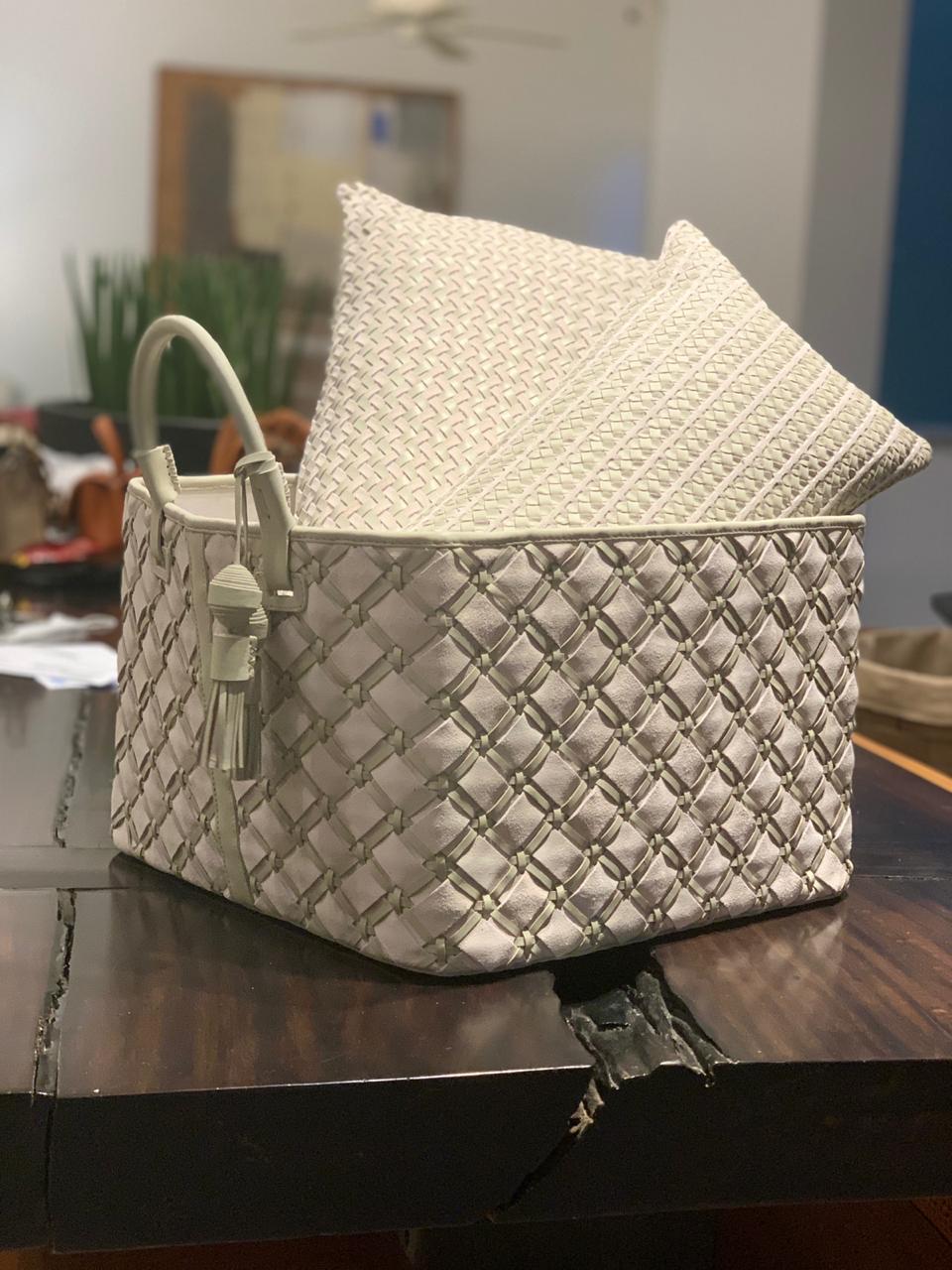 Trancoso Geometrico Woven Leather Basket