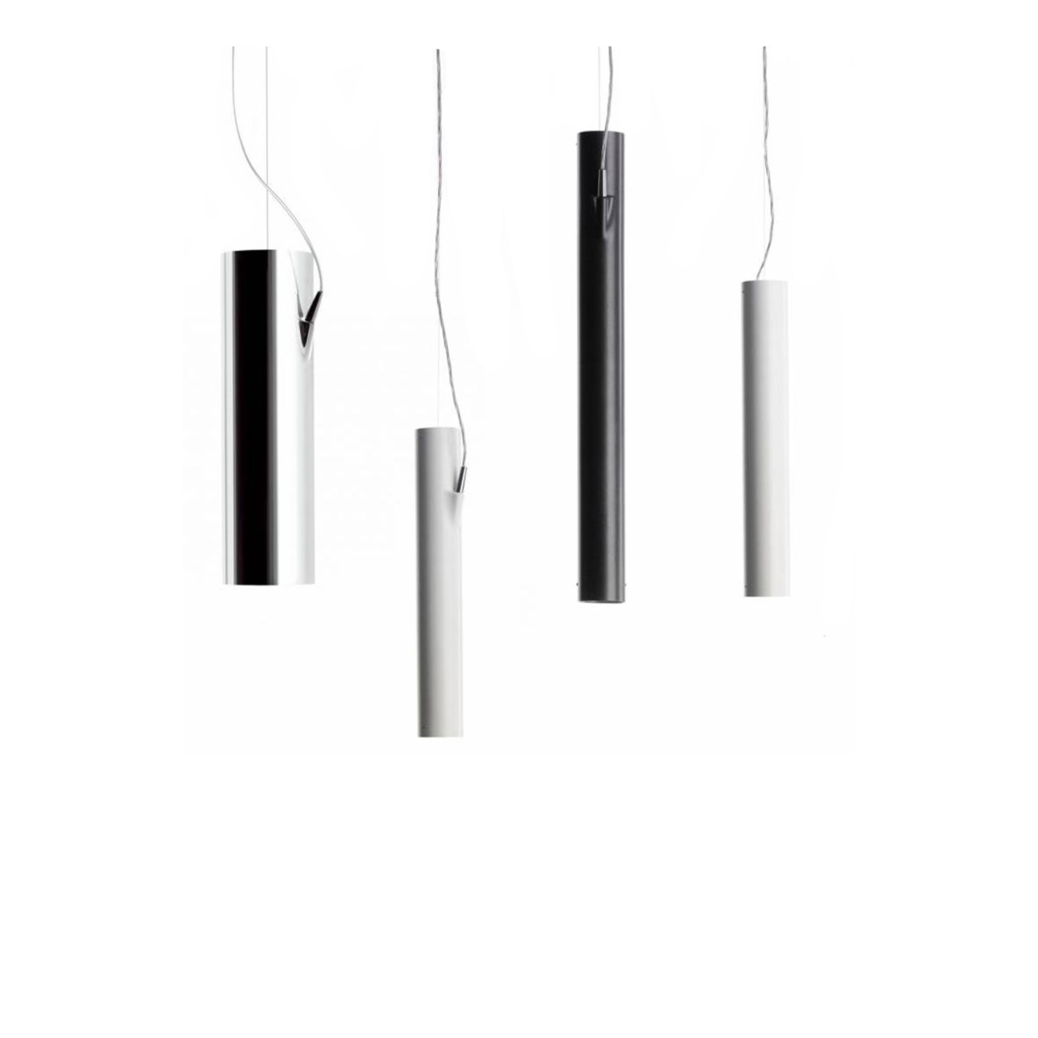E04 Suspension Lamp - Aluminium suspensions in two diameters and different lengths. The power cable enters the side of the cylinder, providing two-way emission without casting a shadow on the ceiling. The light source in a recessed position, preventing glare and improving visual comfort.  Size and finishes are varies please enquire for more information | Matter of Stuff