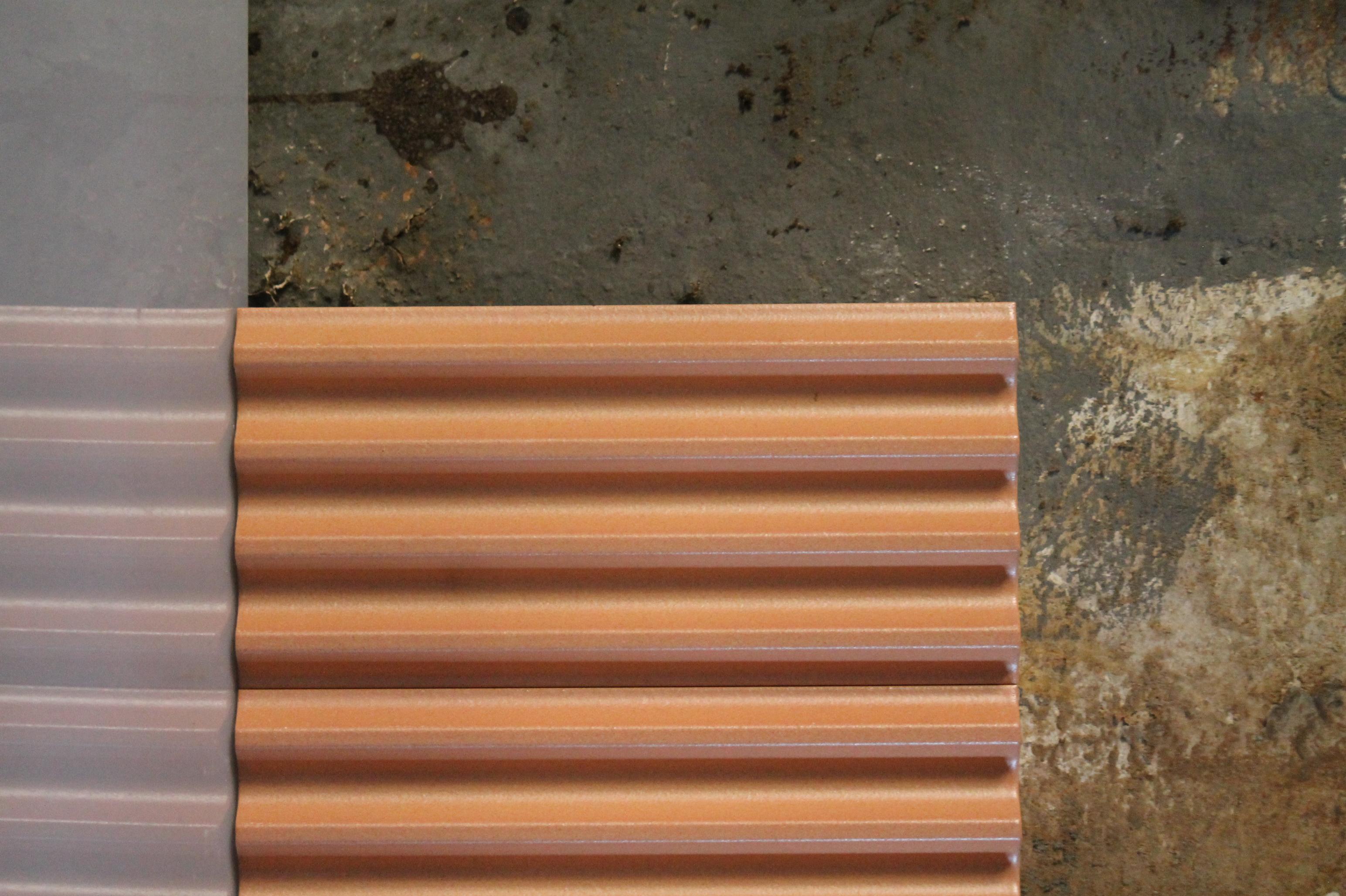 Fluted Ceramic Tile Salmon Matt