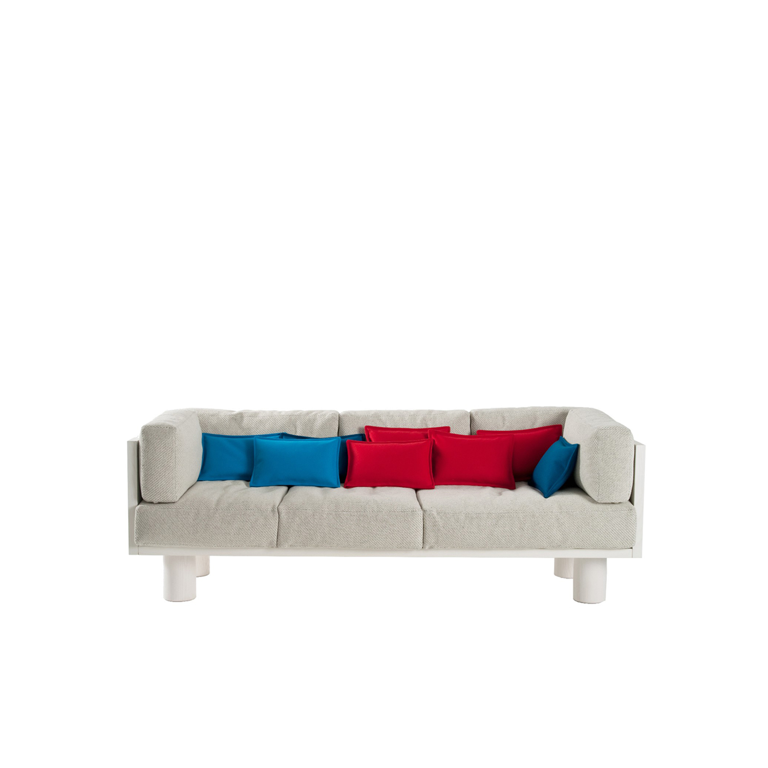 Ottoman Sofa - Ottoman sofa, clearly inspired by the Ottoman culture, is born from the desire to have a comfortable and informal yet precious seat, to be used in a transversal way.  The wide and fluffy feather cushions are embellished with a refined selection of wool felt, velvet, technical fibers and wool yarns of various thicknesses with underneath contrasting threads to add a touch of preciousness. Robust structure made of wood with tobacco or white stained flamed ash finish. | Matter of Stuff