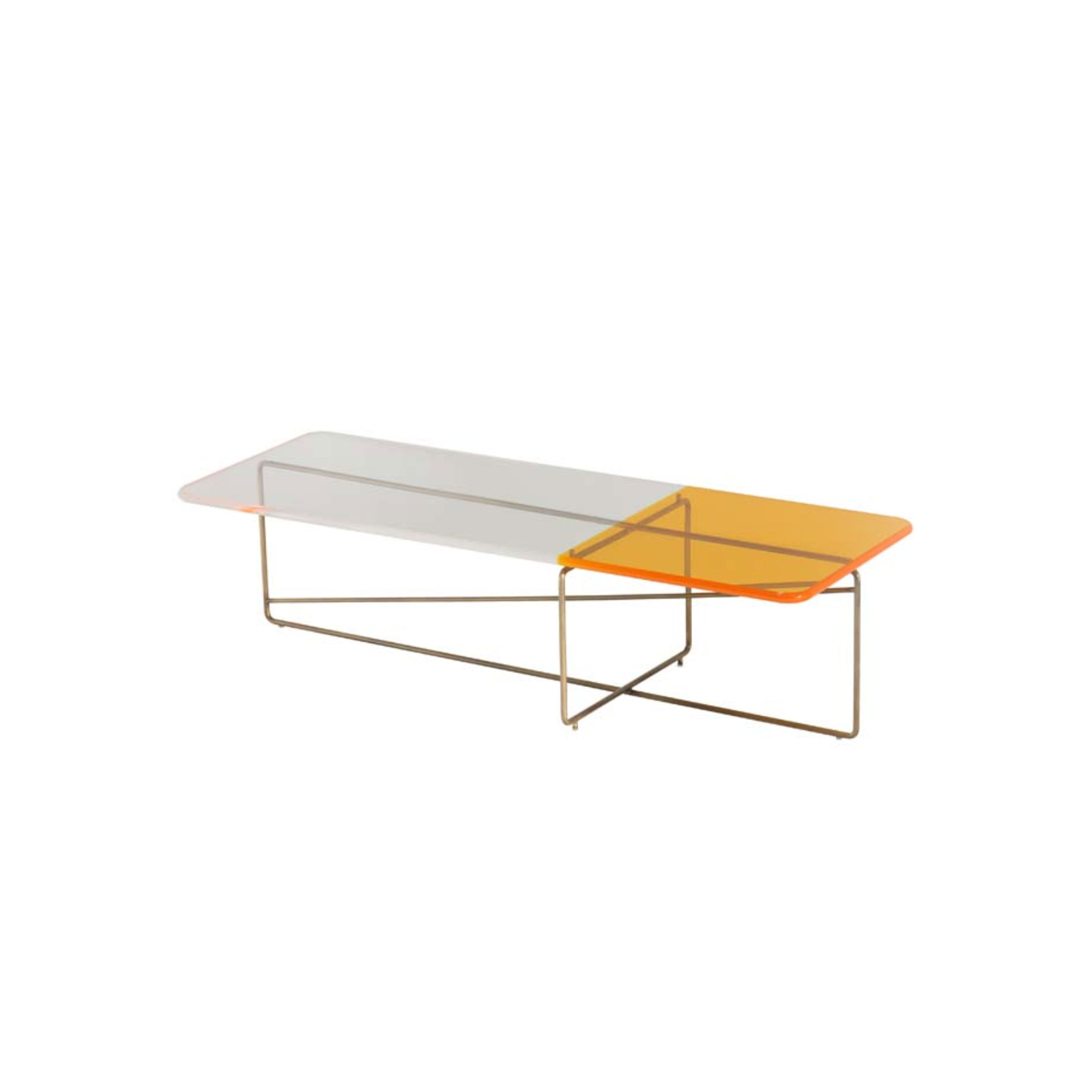 """Ametrino 01 Coffee Table - Side table with brass structures and top in bicolored methacrylate. Ametrino is part of Empirica Family. """"A creative process grown with the experience. There is a real connection between the human being and his creations, a chemical bond that is expressed through the unusual combination of elements that leads to an original and unexpected result. The Collection """"Empirica"""" is the result of a quick thought, an automatic gesture, a spontaneous sign, brass structures treated with special coating are mixed with methacrylate surfaces characterized by exclusive shades.""""  