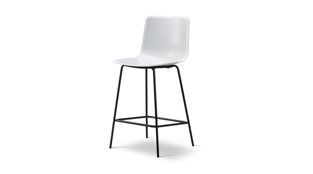 Pato 4 Leg Barstool Seat Upholstered - Pato is a carefully crafted multipurpose chair in eco-friendly polypropylene that can be used outdoors. The chair is available with a range of optional features including coupling. The chair can be tuned from basic to exclusive with optional upholstery.  Pato is a prime example of our focus on sustainability and protecting the environment, reflected in a chair that's 100% renewable and recyclable. All components can be incorporated into future furniture production, thus contributing to a circular economy by minimising the use of materials, resources, waste and pollution.   Merging traditional production methods with cutting-edge technology, Pato is a human-centric, highly versatile series of multi-purpose functional furniture that draws on our in-depth experience with materials, immaculate detailing and heritage of fine craftsmanship. Allowing us to apply our high standards of texture, finish and carpentry techniques to an array of materials in addition to wood for products aimed at a mass market.   With its clean lines and curves, Pato echoes the ethos of Danish-Icelandic design duo Welling/Ludvik. Demonstrating their belief that good design has the ability to be interesting, even when reduced to its most simple form. Where anything extraneous is eliminated and every detail has a purpose.   Together we spent nearly three years developing the shell structure to have a soft surface that's also wear and tear resistant. Enhancing the chair's ability to optimally conform to the user's body is a subtle beveled edge. A technique from classic cabinetmaking, which gives the chair a sense of handcrafted finesse. Each Pato is detailed and finished by hand by our highly skilled crafts people, who refine the beveled edge and the silky, resilient surface. Setting a new standard for the execution and finish of polypropylene.   Since the success of its initial launch, we've expanded Pato into an extensive collection of variants, featuring arm