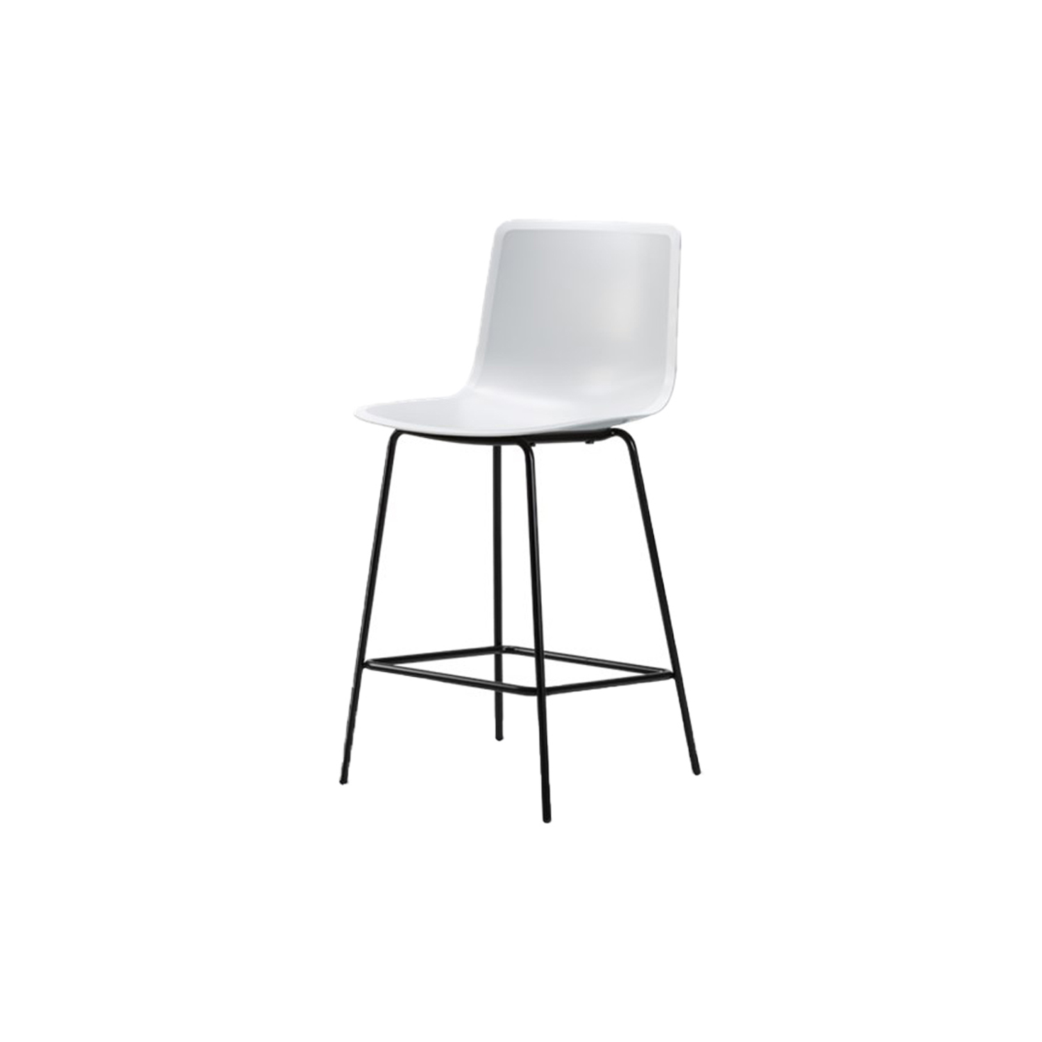 Pato 4 Leg Barstool - Pato is a carefully crafted multipurpose chair in eco-friendly polypropylene that can be used outdoors. The chair is available with a range of optional features including coupling. The chair can be tuned from basic to exclusive with optional upholstery.  Pato is a prime example of our focus on sustainability and protecting the environment, reflected in a chair that's 100% renewable and recyclable. All components can be incorporated into future furniture production, thus contributing to a circular economy by minimising the use of materials, resources, waste and pollution.   Merging traditional production methods with cutting-edge technology, Pato is a human-centric, highly versatile series of multi-purpose functional furniture that draws on our in-depth experience with materials, immaculate detailing and heritage of fine craftsmanship. Allowing us to apply our high standards of texture, finish and carpentry techniques to an array of materials in addition to wood for products aimed at a mass market.   With its clean lines and curves, Pato echoes the ethos of Danish-Icelandic design duo Welling/Ludvik. Demonstrating their belief that good design has the ability to be interesting, even when reduced to its most simple form. Where anything extraneous is eliminated and every detail has a purpose.   Together we spent nearly three years developing the shell structure to have a soft surface that's also wear and tear resistant. Enhancing the chair's ability to optimally conform to the user's body is a subtle beveled edge. A technique from classic cabinetmaking, which gives the chair a sense of handcrafted finesse. Each Pato is detailed and finished by hand by our highly skilled crafts people, who refine the beveled edge and the silky, resilient surface. Setting a new standard for the execution and finish of polypropylene.   Since the success of its initial launch, we've expanded Pato into an extensive collection of variants, featuring armchairs, barstools