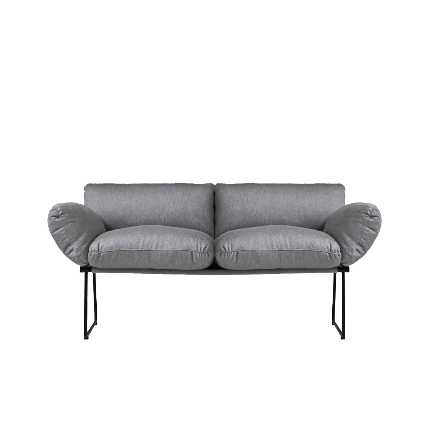 Elisa Outdoor Two Seater Sofa - Synthesis of lightness and comfort, with a minimal and elegant design. From a project designed by Enzo Mari for Driade, Elisa is a collection of sofas and armchairs with a thin structure, in contrast with the soft volume of the cushions. Extremely comfortable thanks to the large and generous shapes of the polyurethane foam cushions, the Elisa sofa and armchair are characterized by the essential design of the base, a slender steel structure with sled supports that makes the whole elegant and light. Beautiful furnishing accessories which, thanks to the simplicity of their line, are refined and sophisticated. The sofa is proposed in the two dimensional variant with two and three seats and with covering to choose from in a wide range of colors. Available in indoor and outdoor versions. | Matter of Stuff