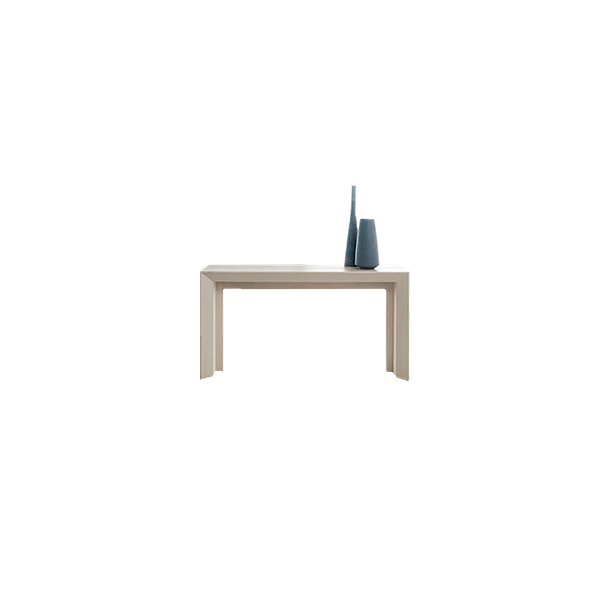 "Minuetto 140 Extendable Console Table - Through simple moves, a mechanism with aluinium rails transforms ""Minuetto"" from elegant console into a large dining table. Volumetric games and facets make ""Minuetto"" a present-day project, with neat lines and geometric design, easily adaptable to the different kinds of environment.  
