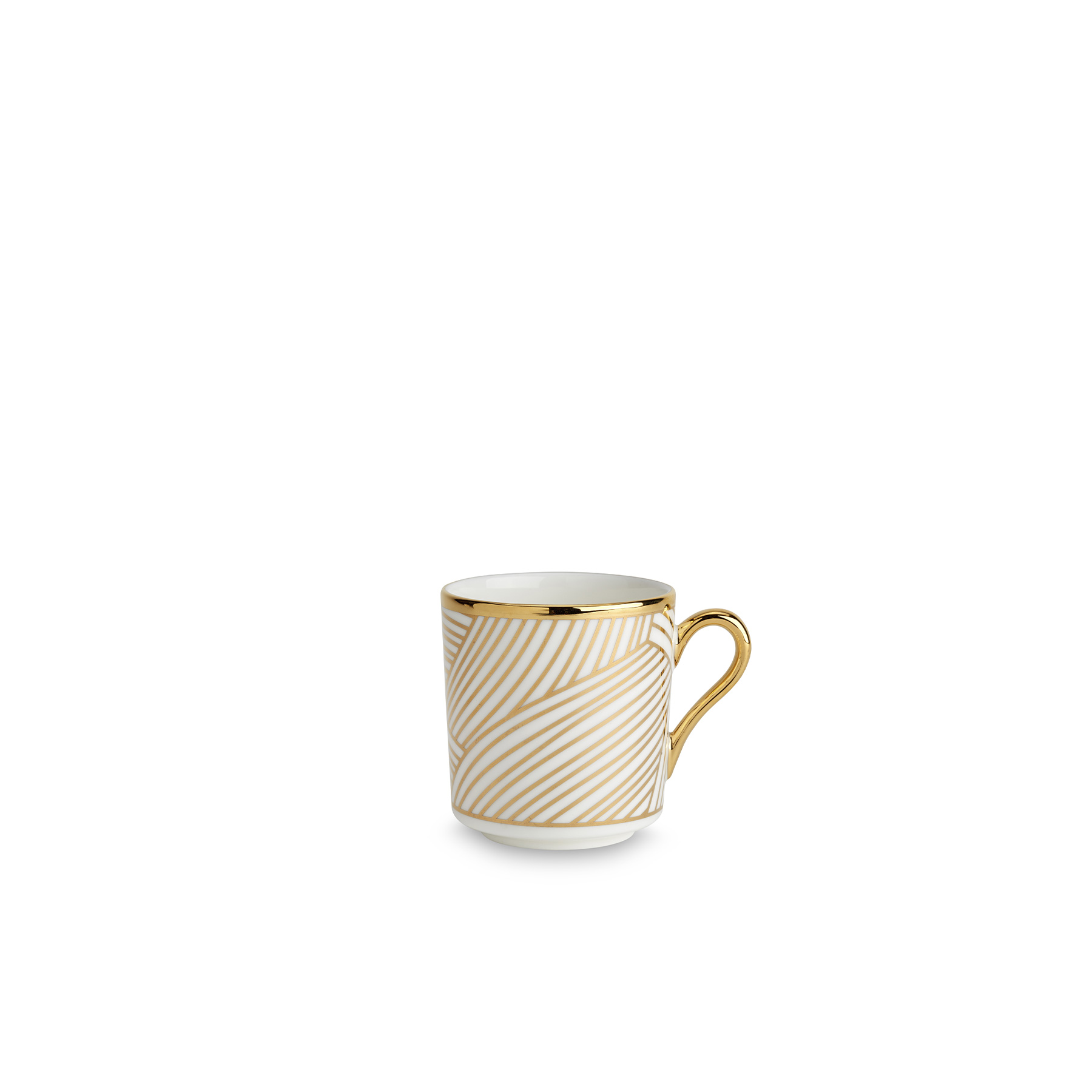 Lustre Espresso Cup Gold - Lustre, conceived by award-winning designer Bethan Gray uses a fine bone china body paired with 22-carat gold and black decals, and finished with hand gilded details. The collection features a reinterpretation of Bethan's hand-drawn Dhow pattern originally inspired by the billowing sails of Oman's distinctive sailing boats. Possible only by hand, the pattern is meticulously applied in three separate pieces in a pattern that is complex with its curvatures. The decals of 22-carat gold and black are fired, hand finished with 22-carat gold and finally fired for a second time. Hand wash only.  | Matter of Stuff
