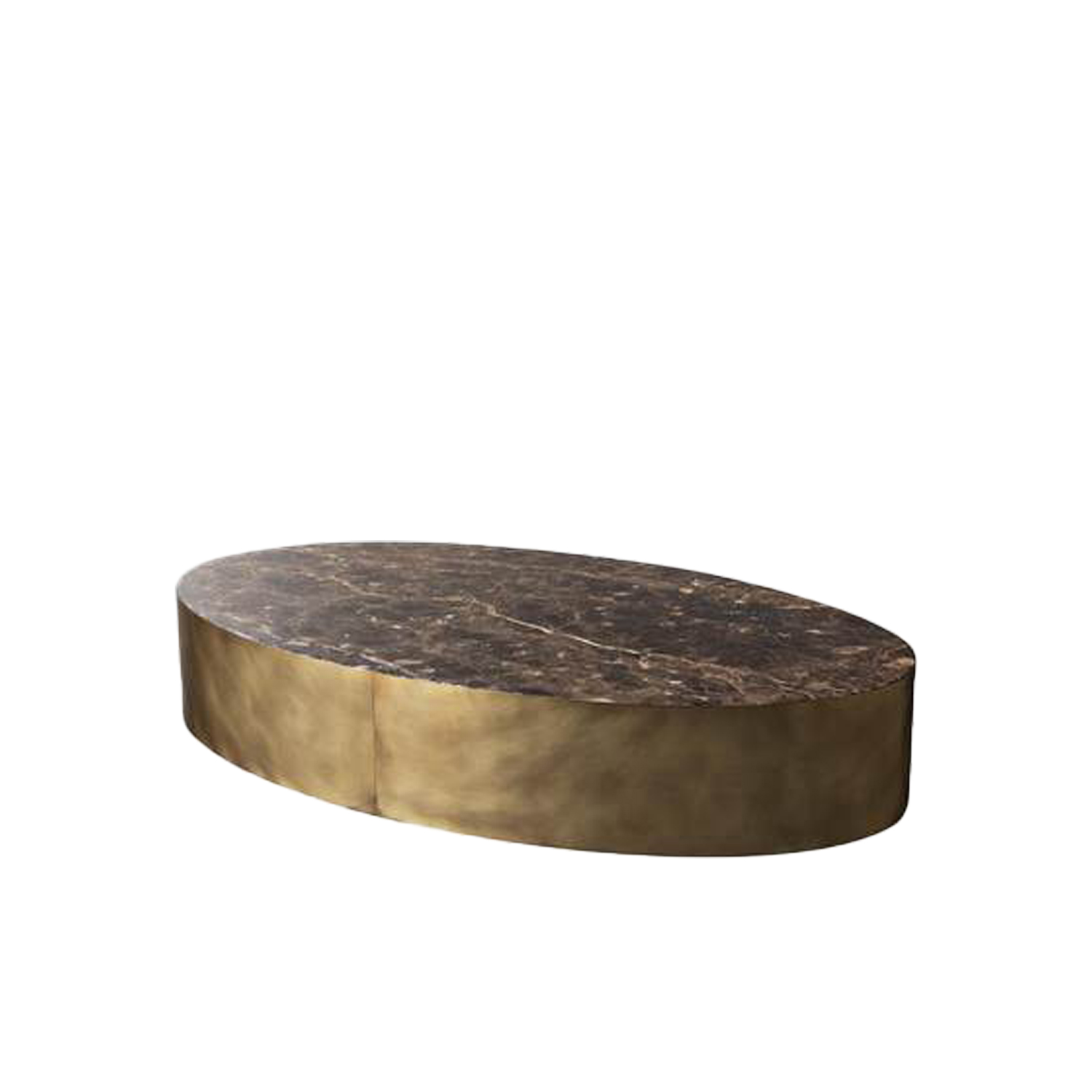 Belt Round Large Low Table - Belt are low coffee tables with wooden structure and bronzed brass perimeter band.‎ The top is available in matt lacquered oak veneer or glossy bronzed marble mirror glass.‎ | Matter of Stuff