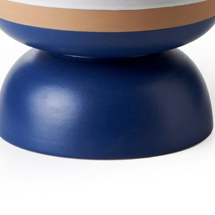 Two-Toned Matt White and Blue Bowl - Centre piece. Hand-turned in red clay. Two-tone matt white and blue glaze. | Matter of Stuff