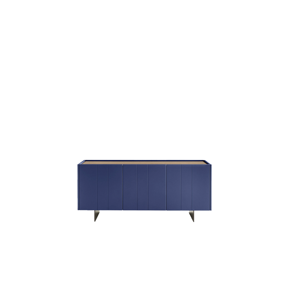 Stripe 3 Door Sideboard - The slim base and vertical lines on the front are the distinguishing design features of the Stripe sideboard, which comes in a three- or four-door version. There are numerous finishes on offer, providing endless scope for customizing. The structure – in any of the matt, gloss and oxidized lacquered colour options – is paired with a top in the same finish, or in the once or olmo termotrattato finish, various rovere options, noce canaletto or clay. The top is also available in light stone, marble, lava stone and leather.  The base comes in polished chrome, or in the matt, oxidized or metal lacquered finish for an additional charge.  | Matter of Stuff