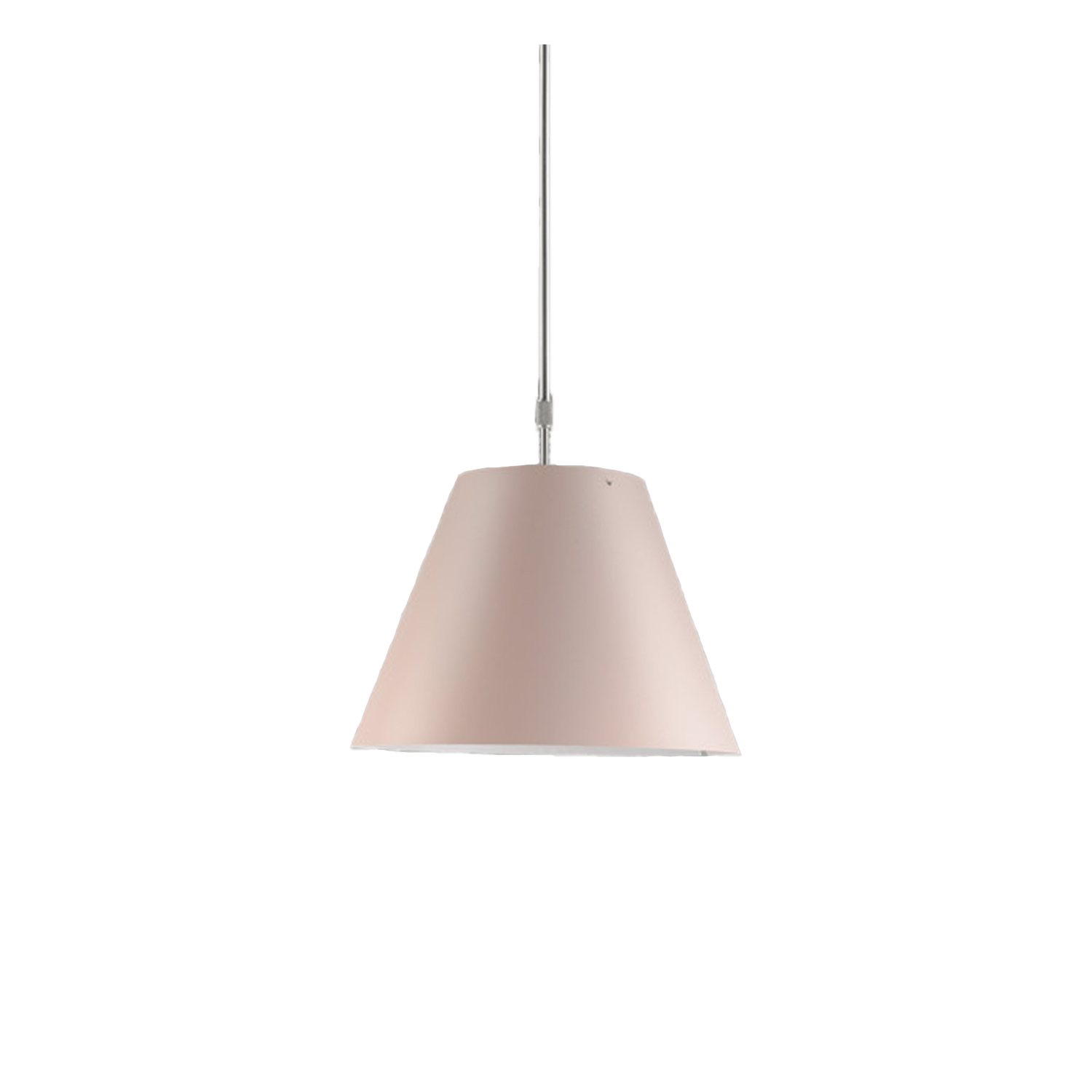 Costanza Suspension Telescopic Lamp -  Elegant and light, this lamp emits a pleasant warm light through a silk-screened polycarbonate shade. The lamp's height may be adjusted by means of a characteristic steel counterweight.  LED technology has made it possible to update Costanza while keeping its inimitable characteristics: high performance in terms of diffuse lighting and visual comfort  | Matter of Stuff