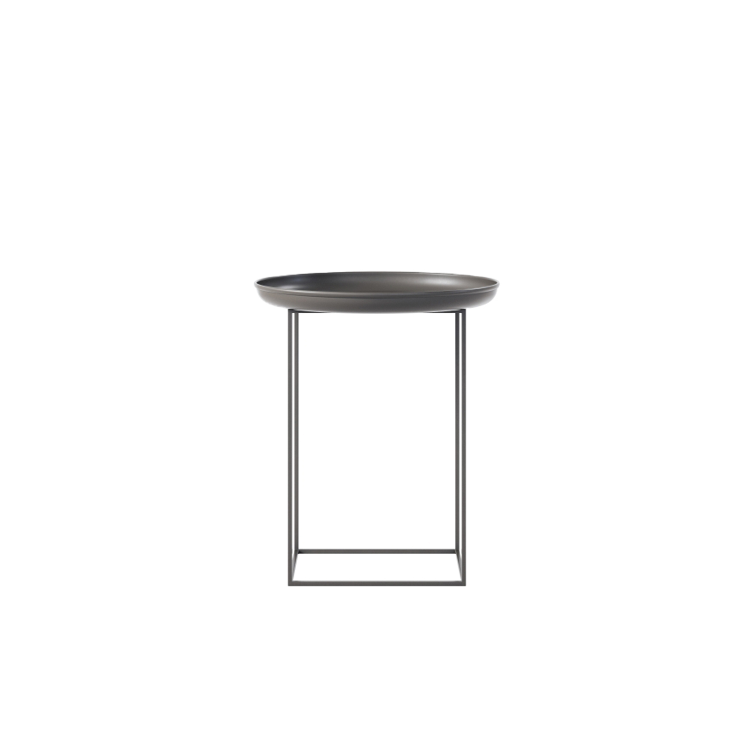 Duke Side Table - Small - The Duke tables are a series of multi-functional side and coffee tables with a spun metal tray loosely placed on top of a metal frame. The tables come in small, medium and large and can easily be adapted to fit your needs, with the medium size particularly functional. The base can be rotated onto its different faces to create three different table heights, making them suitable to fit any height of sofa or to be used as a bedside table. When all three sizes are placed together they create a nice landscape that compliments any sofa.  | Matter of Stuff