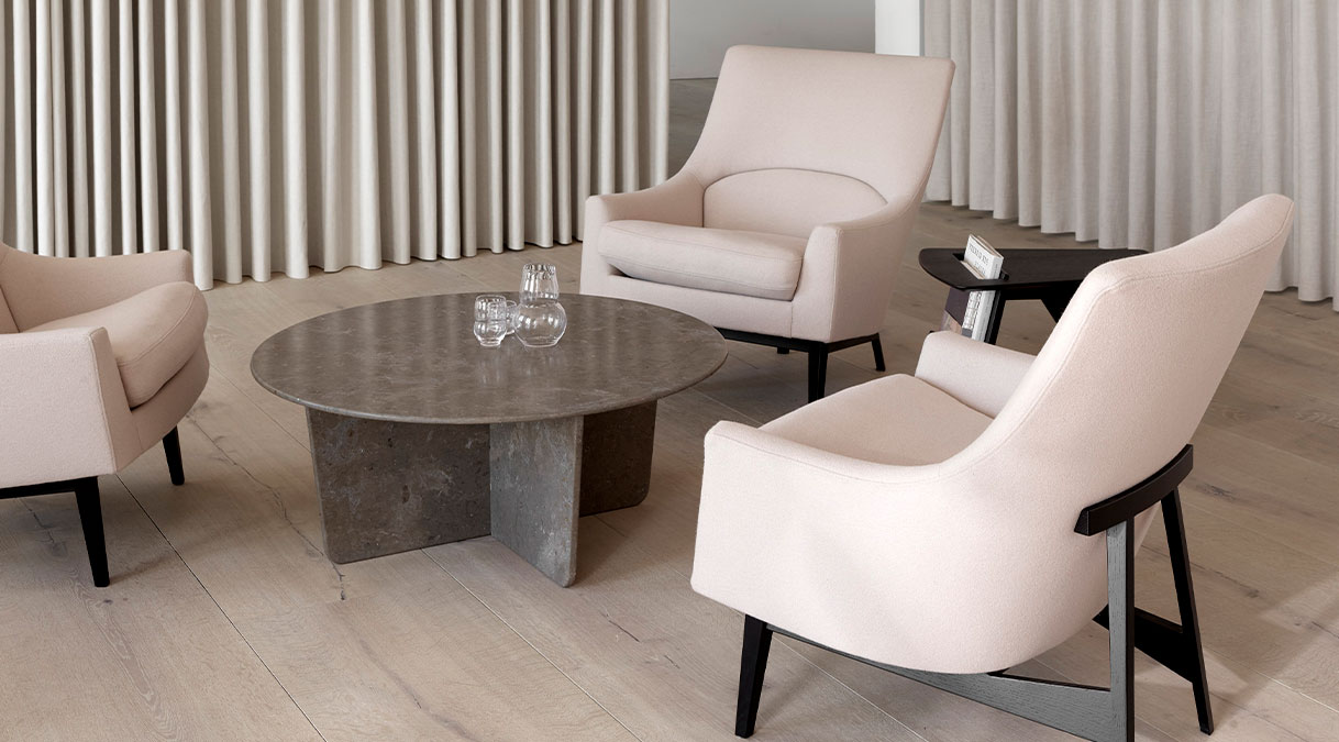 Tableau 1960 Coffee Table - The Tableau series in stone reflects a passion for natural materials that runs deep in our DNA, involving expert craftmanship that lies at the core of our company. With its graceful geometric contours and x-shaped base, Tableau creates a soft silhouette that exudes effortless elegance.  Stone is a new addition to select products in Fredericia's portfolio and Tableau is one of the first to be launched in stone.   It's quite an accomplishment to craft the table in stone, creating synergy with the soft-corned square top and the x-shaped base. Stone has a universal appeal as an exclusive material, with subtle differences in surface patterns unique to each stone.   Available in three versions, the Tableau series in stone makes for a subtle yet striking statement that's ideal in a variety of venues. Such as private homes, as well as luxurious hotels, upscale restaurants and exclusive lounges. Virtually any interior where you want to signal a look that's timeless and unquestionably elegant.     Matter of Stuff