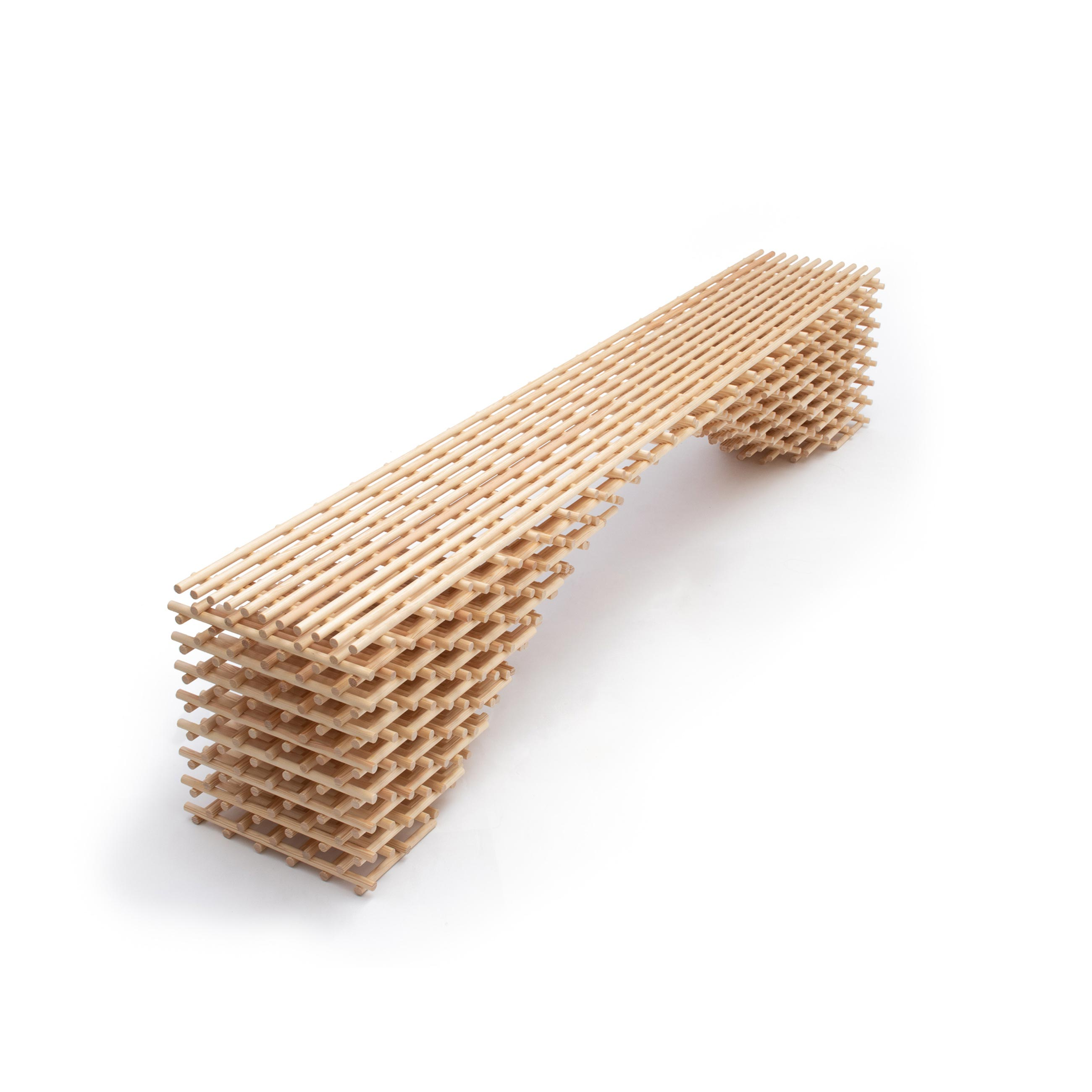 """Brodie Neill Latitude Bench - <p>Longstanding champion of upcycling waste into new material streams, Brodie has reused 422 dowels to create a sculptural bench, """"Latitude"""". Handcrafted in Brodie's East London studio, """"Latitude"""" uses a lattice-like technique reminiscent of traditional Japanese bamboo constructions where linear elements are bound together to create seemingly simple scaffolding-like structures.  Exhibited at Sketch for London Design Week.</p>  