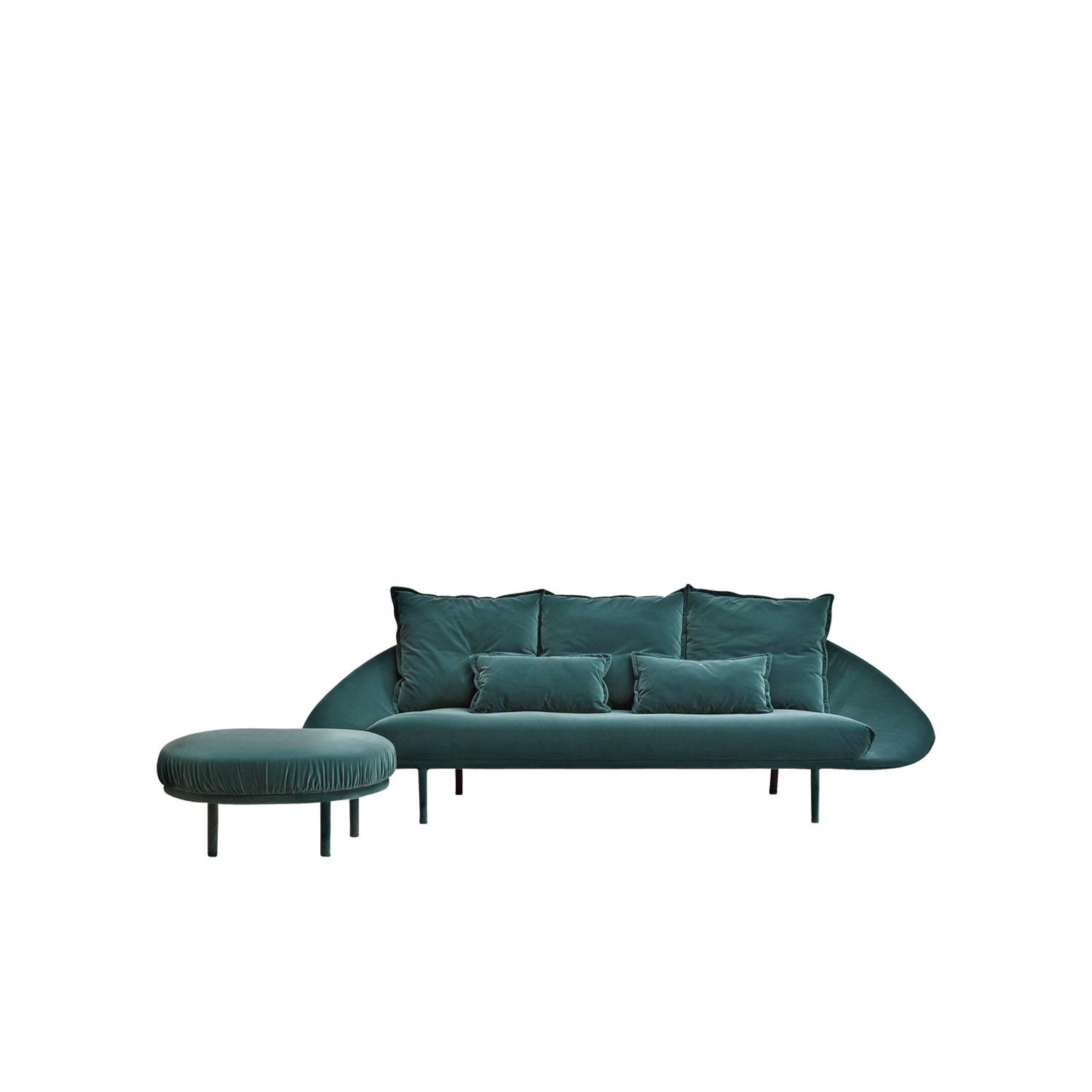 Lem Sofa - Lem is a soft and sinuous sofa with a completely upholstered structure that ascends with sweet, little feet. The soft cushions of the seat and the back lean on the fabric shell, ensuring maximum comfort. The Lem series includes five variants, two or three-seater sofa, sectional sofa, armchair, and ottoman.