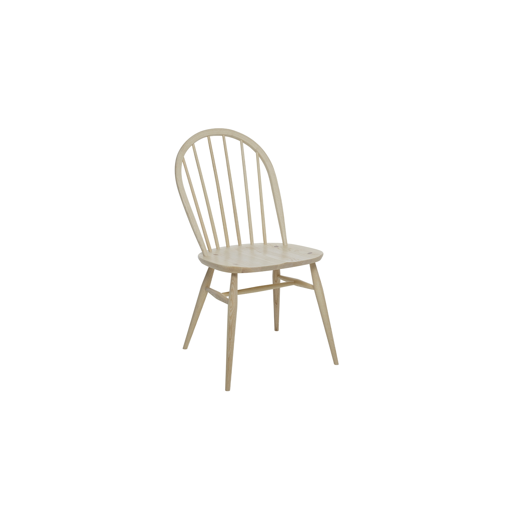 Originals Winsdor Dining Chair - The Ercol Originals are pieces of timeless and classic design that never date or show their age. It is furniture that is as relevant and as functional now as it was when it was created in the 1950s and 1960s. This furniture was designed by ercol's founder, Lucian Ercolani, who drew for his inspiration on the time proven local design and craft in the Chiltern Hills around where he lived and built his first factory in 1920 in High Wycombe. Using the strength of beech and the beauty of elm he carried this definition on into a huge variety of dining, kitchen, and school chairs and then extended the idiom into the low easy chair range epitomised by the 206 armchair and the studio couch. The beauty of the colour and the grain of the elm took Lucian on to use elm for the tables and cabinets of the Originals and the following Windsor range. This distinctive Windsor dining chair combines strength and durability with classic elegance. The six ash spindles and curved seatback, alongside the sculpted saddle seat provide a comfortable and supportive sit.  The chair bow is steam bent from a single straight ash rail and then sanded and shaped to give its subtle and elegant profile. Traditional wedge joints, where the legs come right through the seat and a wedge is then inserted into a cut, before the leg stump is hand sanded flush with the seat, both provide a lovely design detail and a very strong joint.  Further strength is provided by the H-underframe. This Windsor ash dining room furniture will be finished in your choice from a selection of lacquer colours that both protects the timber, whilst enabling you to choose the look to match your style and décor.    | Matter of Stuff