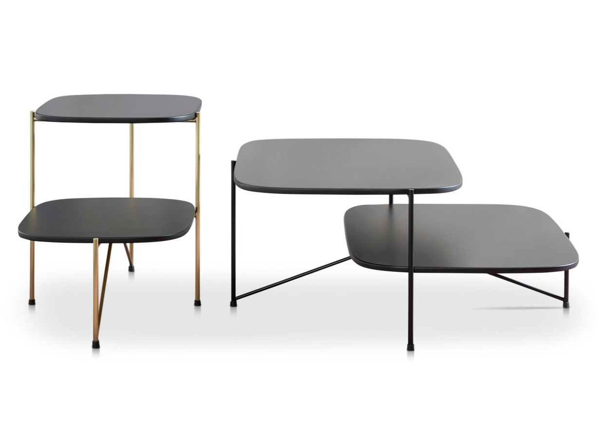 Haiku Coffee Table  - Haiku is a Japanese word used to describe a poem consisting of just three lines up to a total of seventeen syllables. The coffee table designed by Marco Zito for Saba Italia is in fact made up of three parts – the frame and the two tops.  The slim architecture suspends the tops on two levels which play with the partial overlap and combinations of colours in pastel shades, in a simple and well-gauged relationship of balance and proportions. Haiku was designed with a sophisticated palette which plays on subtle shading. Frame in metal rod with matte black coating. Tops in lacquer finish MDF.  Materials Structure in painted wire drawn with diameter 10 mm and top in matte lacquer finish MDF h 12 mm. | Matter of Stuff