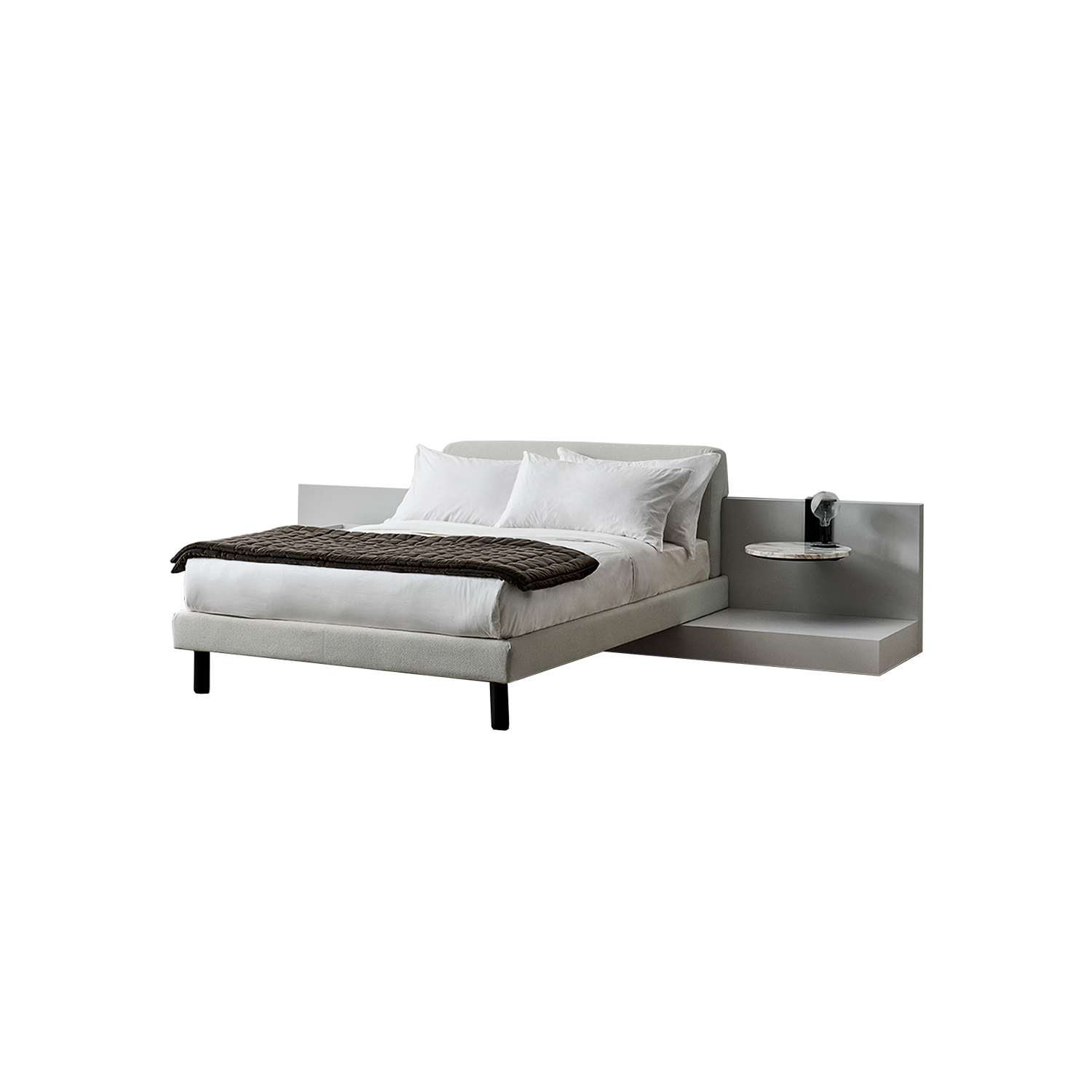 Cliff Modular Bed - A collection of modular beds, rich and refined in terms of both structure and details: it allows the outmost compositive freedom with its headboards and bases available in a wide selection of dimensions, finishes and accessories. The L-shaped structure is the bed base and supports the headboard: the horizontal panels on both sides of the bed can be used to stack books or to place lamps, or may be completed with one of the many complements. The entire range is about flexibility, even in the finishes: headboard and base can be either manufactured in the same material or with different ones for a visually, extremely rich solution.  The bed is available in different colours and configurations. Please enquire for more details | Matter of Stuff