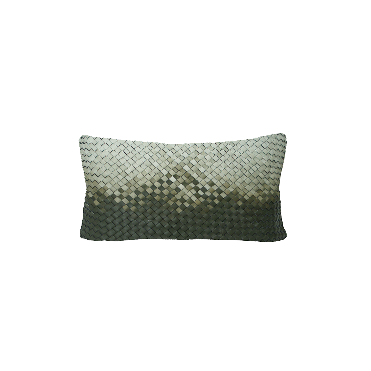Tresse Degrade Diagonal Woven Leather Cushion Small - The Tresse Degrade Diagonal Woven Leather Cushion is designed to complement an ambient with a natural and sophisticated feeling. This cushion style is available in pleated leather or pleated suede leather. Elisa Atheniense woven handmade leather cushions are specially manufactured in Brazil using an exclusive treated leather that brings the soft feel touch to every single piece.   The front panel is handwoven in leather and the back panel is 100% Pes, made in Brazil.  The inner cushion is available in Hollow Fibre and European Duck Feathers, made in the UK.  Please enquire for more information and see colour chart for reference.   | Matter of Stuff