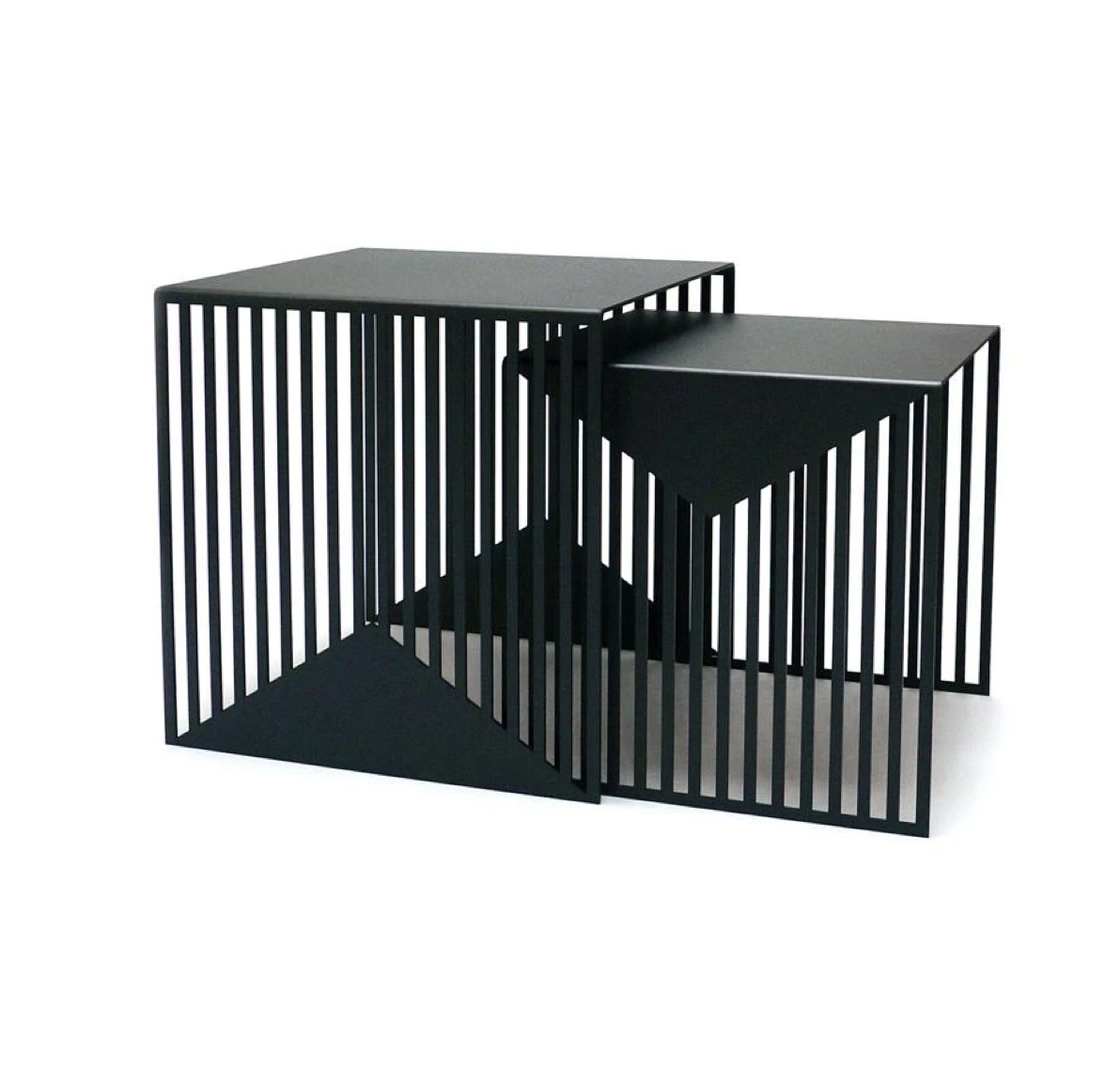 Zick Zack Side Tables - Graphic lines. Each table design is laser-cut from a single sheet. The graphic nature of the negative spaces cut into the legs in light & shadow to create varying geometric patterns depending on the viewer's position.   | Matter of Stuff