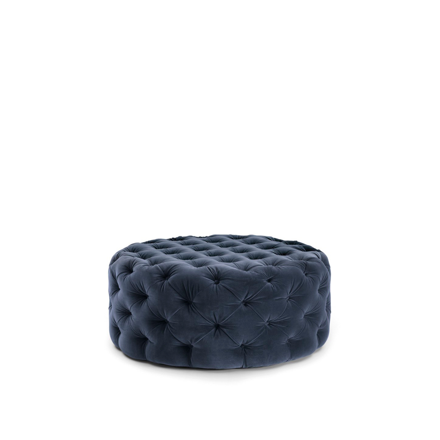 Selene Pouf - Circular pouf that perfectly matches the Selene bed; they share the soft and elegant aspect given by the craftsmanship of the refined capitonné padding. | Matter of Stuff