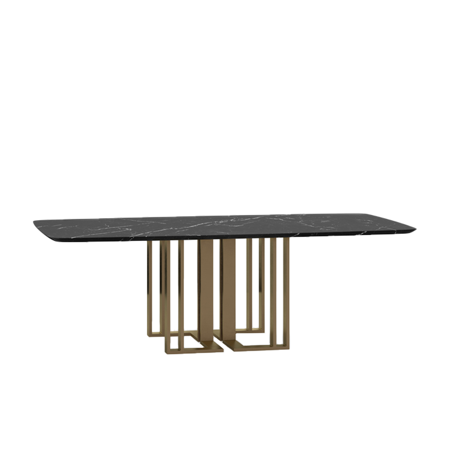 Charlie Large Dining Table - This collection includes tables of various sizes with square, round or rectangular tops. The sophisticated and urban look is determined by the precious metal base in different versions. The wide possibility of customization is pledged also by the several available finishes for the tops.  | Matter of Stuff