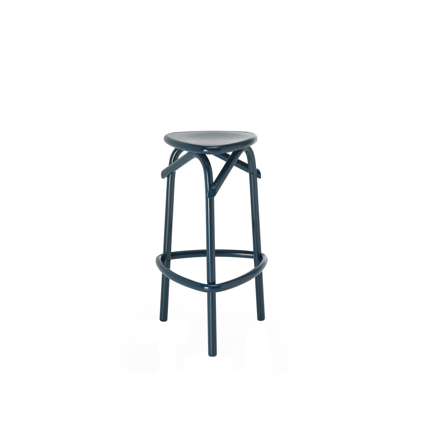 Trio Stool - Its structure is crafted of beechwood bent using steam-based techniques. The standout element of this piece is its base, comprising three legs that bend at the top to support the seat in plywood. The rich blue shade of this piece adds an elegant pop of color that will be eye-catching in a modern or eclectic interior. | Matter of Stuff