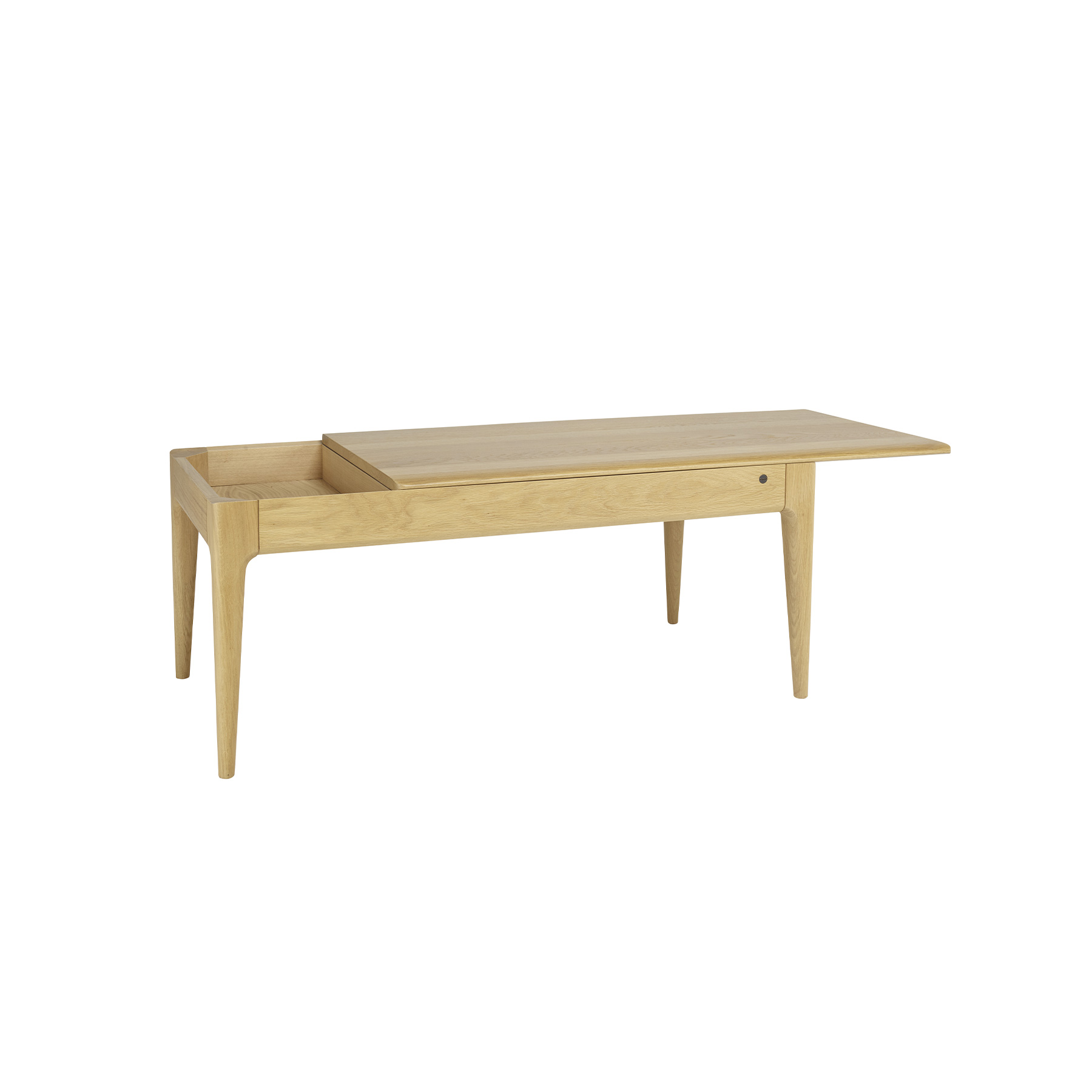 Romana Coffee Table - <p>Romana is a modern dining and living-room furniture collection with soft curves and sophisticated craftsmanship that emphasises ercol's skill in working with solid timber.  Romana is made from pale oak and finished in a clear matt lacquer to both protect the timber and show off its beauty. This oak coffee table has a secret... the top slides back to reveal a hidden recess, ideal for keeping your remote controls or your tablet in.  The front edge of the table top bears the signature soft curve, and the legs have the fluid organic curves and chamfers that, characterise Romana. This oak furniture is finished in a clear matt lacquer to show the beauty of the natural timber.</p>  | Matter of Stuff