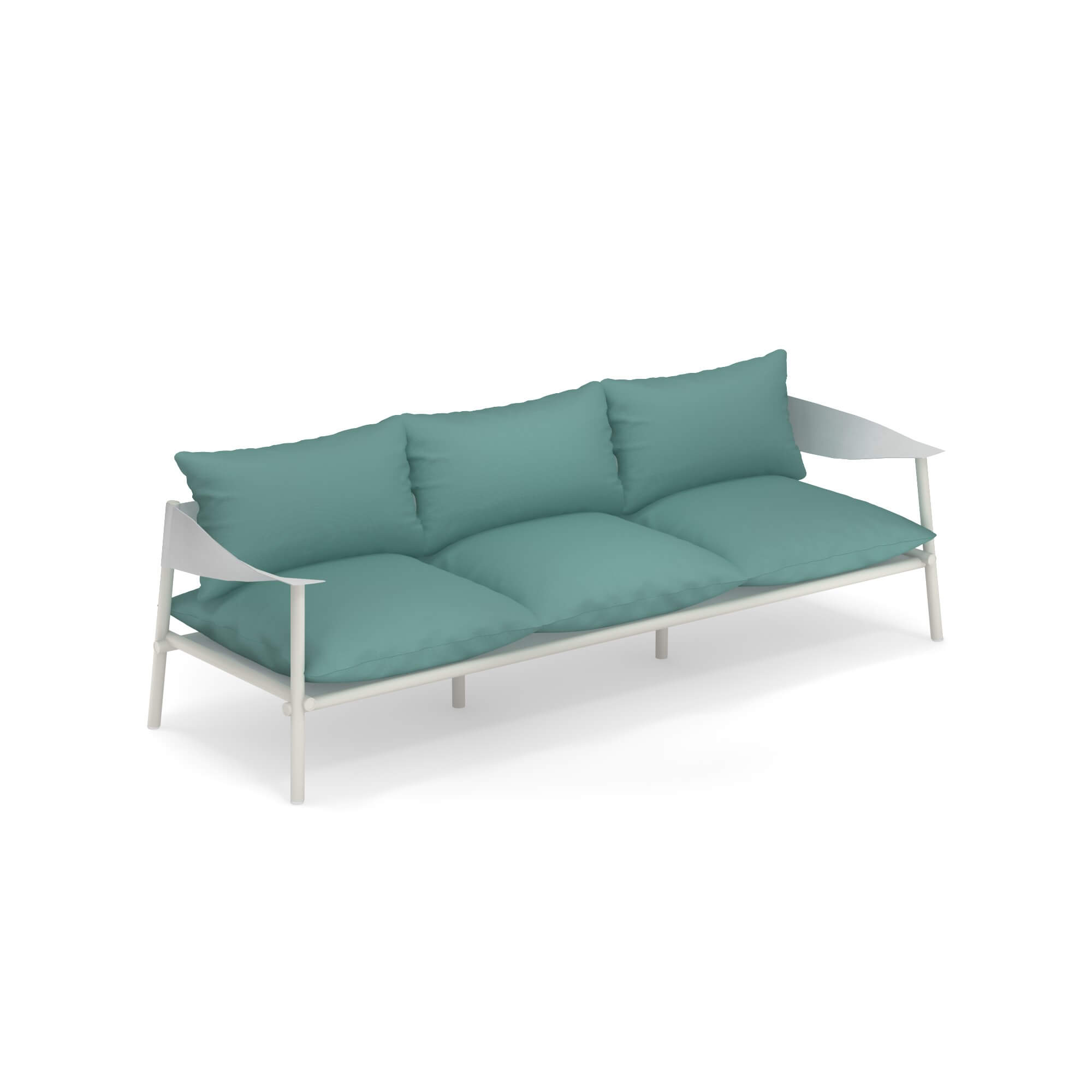 Terramare Three Seater Sofa - Welcoming shapes and wide dimensions characterise the Terramare collection by Studio Chiaramonte-Marin, ideal for cosy and personal settings both indoors and outdoors. A complete range of furniture for both dining and living areas. This sofa has a frame made from aluminium and armrests in eco-leather. This sofa does not come with cushions. Please enquire for more details.     Matter of Stuff