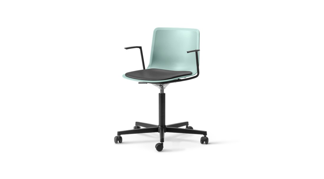 Pato Office 5 Point Swivel Base Armchair Seat Upholstered - Pato Office Armchair is fitted with a 5-point star swivel base on casters. The frame has a swivel feature with height adjustable gaslift and a tilt function for comfortable task seating. The arms can be used for suspension on any table. The chair can be tuned from basic to exclusive with optional upholstery.  Pato is a prime example of our focus on sustainability and protecting the environment, reflected in a chair that's 100% renewable and recyclable. All components can be incorporated into future furniture production, thus contributing to a circular economy by minimising the use of materials, resources, waste and pollution.   Merging traditional production methods with cutting-edge technology, Pato is a human-centric, highly versatile series of multi-purpose functional furniture that draws on our in-depth experience with materials, immaculate detailing and heritage of fine craftsmanship. Allowing us to apply our high standards of texture, finish and carpentry techniques to an array of materials in addition to wood for products aimed at a mass market.   With its clean lines and curves, Pato echoes the ethos of Danish-Icelandic design duo Welling/Ludvik. Demonstrating their belief that good design has the ability to be interesting, even when reduced to its most simple form. Where anything extraneous is eliminated and every detail has a purpose.   Together we spent nearly three years developing the shell structure to have a soft surface that's also wear and tear resistant. Enhancing the chair's ability to optimally conform to the user's body is a subtle beveled edge. A technique from classic cabinetmaking, which gives the chair a sense of handcrafted finesse. Each Pato is detailed and finished by hand by our highly skilled crafts people, who refine the beveled edge and the silky, resilient surface. Setting a new standard for the execution and finish of polypropylene.   Since the success of its initial launch