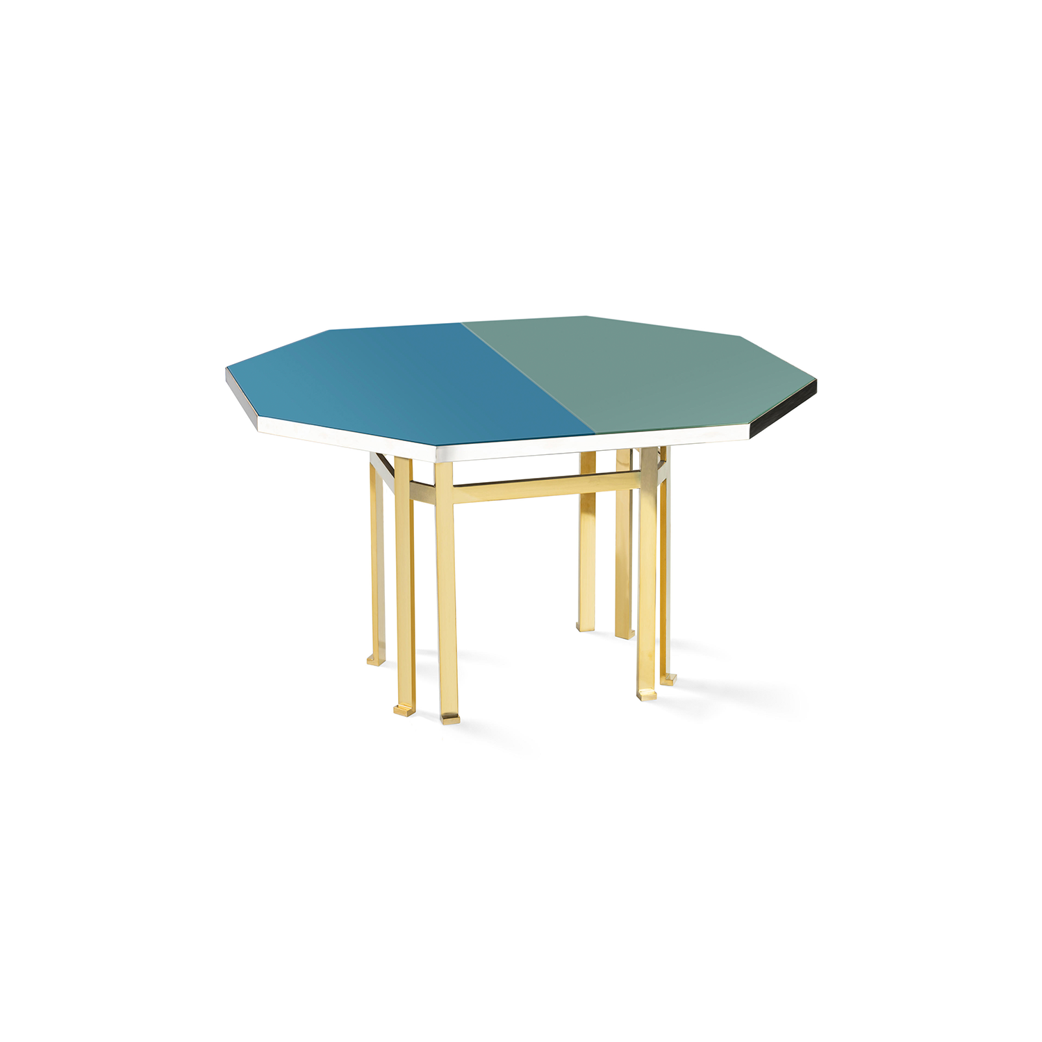 Holo 130 Table - Designed by Filippo Feroldi for Purho and Colleoni Arte, Holo 130 is characterized by small dimensions and by an octagonal brass structure surmounted by a sheet of glass back-coloured in two different shades which in turn rests on a base in black lacquered wood.  The volumes, the technical details, the study of colour and the craftsmanship with which it is made make Holo 130 a precious, unique complement, masterfully balanced between the history of design and contemporaneity, capable of giving personality to the environments in which it is inserted.  Colours can be customised, please enquire for more details. | Matter of Stuff