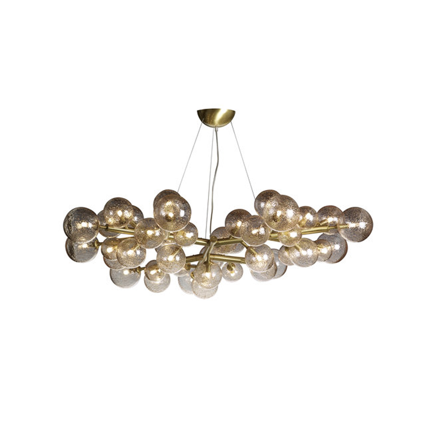 Mimosa 42 Brass Chandelier - This chandelier, designed and realised by the glassmaster Alberto Donà , is totally different from our classic collection. Its peculiarity is the simplicity of the frame decorated with 42 glass spheres – that during blowing are decorated by the master adding  gold, copper or brass powder. The result is a simple but impressive chandelier especially when lighted. Each sphere has a G9 2.5w bulb. Chandeliers are available in different sizes.  | Matter of Stuff