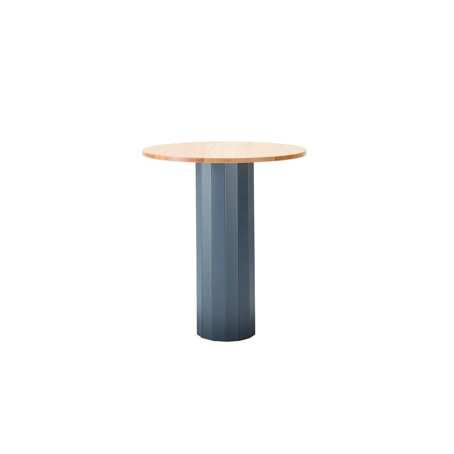 CAP High Table - The inspiration for Cap table (2014), comes from those big wooden cable drums. Its name, however, is an allusion to the cap of a mushroom, as these tables can spring up like mushrooms in different sizes, heights, colours and variations to create all sorts of lively and highly individual settings. The hollow pedestal is made of solid wood and the tabletop comes in a choice of veneer or solid oak, birch, ash, standard colors, standard stains on ash and white glazed oak or ash.  Top is also avaiable in laminate (white, black, oak, birch, ash) and black desktop. For stained finishes, we recommend a veneered top. Accessories different cable slots which can be mounted on table top or pedestal. Cap is an ideal solution in settings where durability is a key concern. The stability and balance of the construction is achieved by adding just the right amount of stone dust inside the pillar, according to the size and diameter of the tabletop.  Please enquire for more details and configurations. | Matter of Stuff