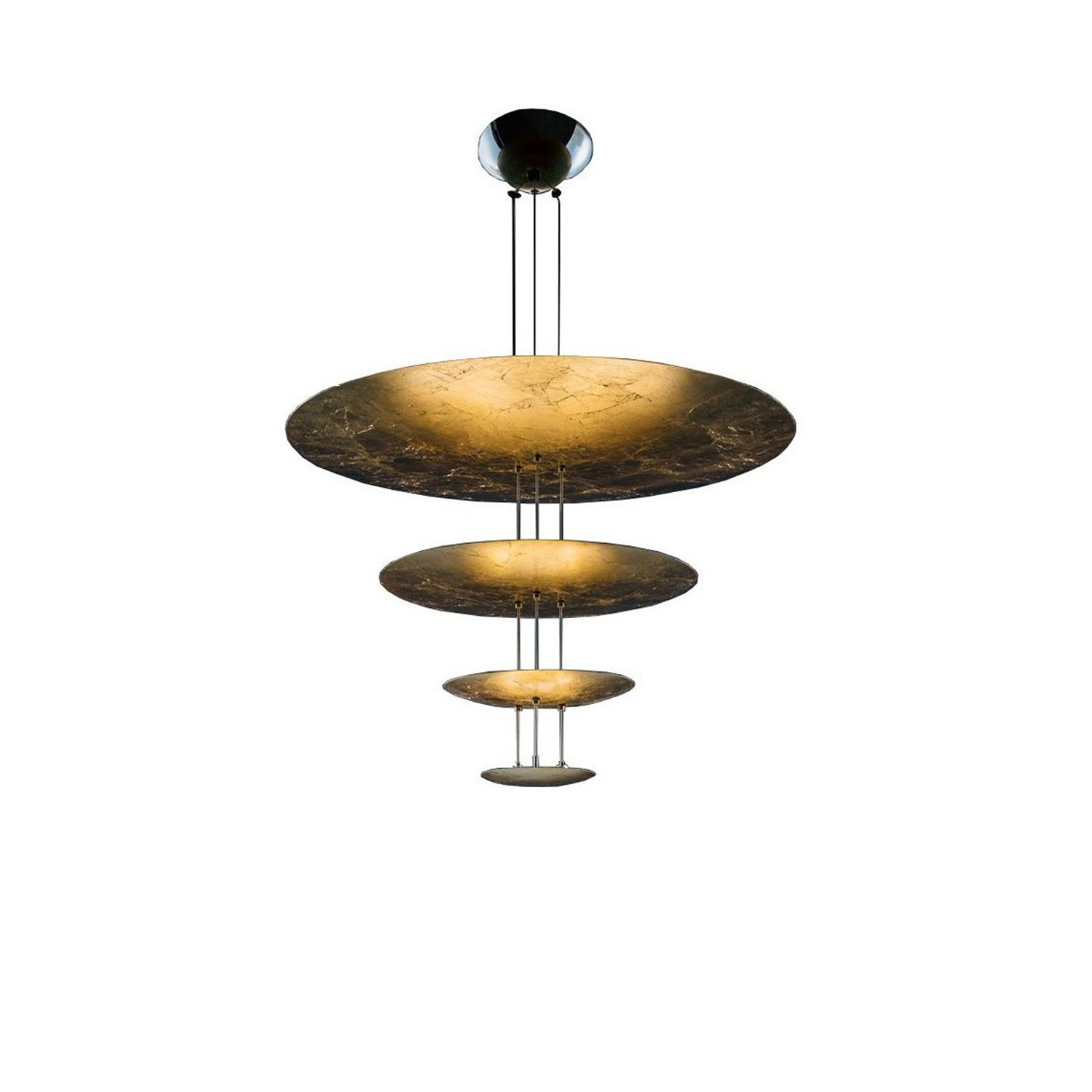 Macchina Della Luce Model D Pendant Light  - Macchina della Luce emerged from the Luci d'Oro collection, and was also developed after reflecting on the colour of light: the golden light of the sun and fire; warm light, in which the concept of refraction began to take shape in Enzo Catellani's mind and which he used later in other creations.  Different versions are available. Please enquire for more details  | Matter of Stuff