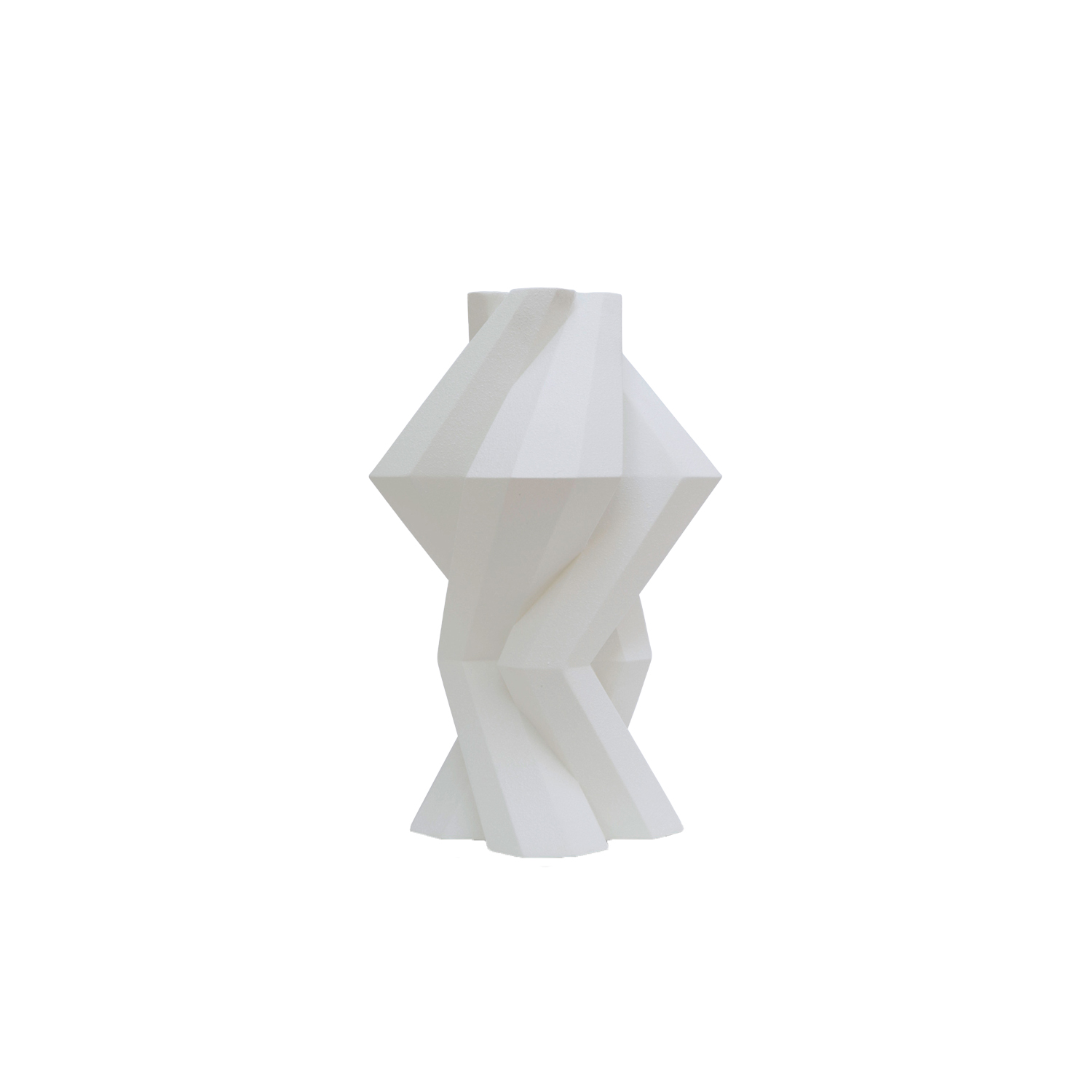 Fortress Column Vase Crackled White - Designer Lara Bohinc explores the marriage of ancient and futuristic form in the new Fortress Vase range, which has created a more complex geometric and modern structure from the original inspiration of the octagonal towers at the Diocletian Palace in Croatia. The resulting hexagonal blocks interlock and embrace to allow the play of light and shade on the many surfaces and angles. There are four Fortress shapes: the larger Column and Castle (45cm height), the Pillar (30cm height) and the Tower vase (37cm height). These are hand made from ceramic in a small Italian artisanal workshop and come in three finishes: dark gold, bronze and speckled white.  | Matter of Stuff