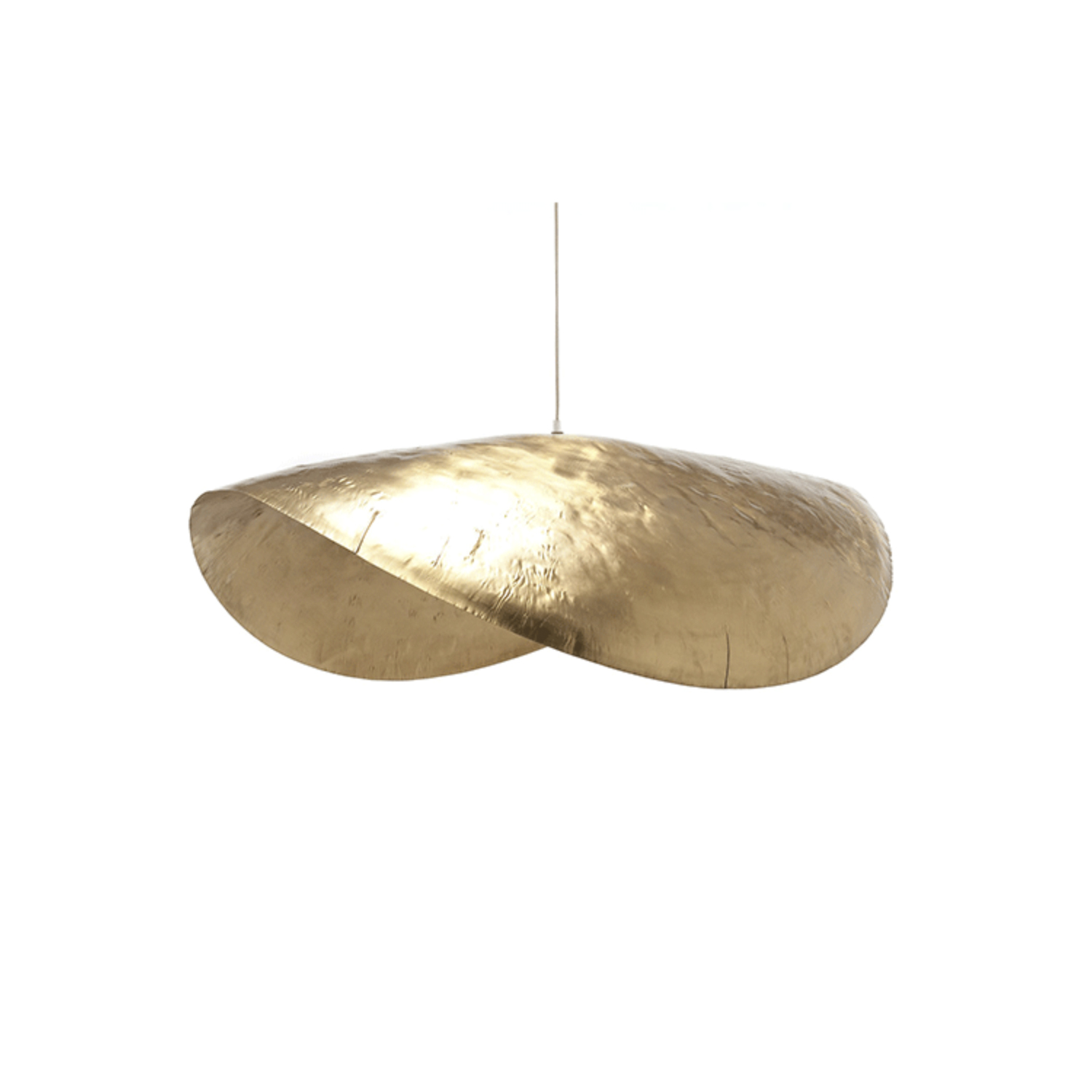 Brass 96 Pendant Lamp - Suspension lamp in hammered matt brass. Max. power 18 W, 220 Volt, bulb holder E 27. The bulb is not included. Electrical cable lenght of the lamp is 250 cm and the steel cable lenght is 200 cm.   Matter of Stuff