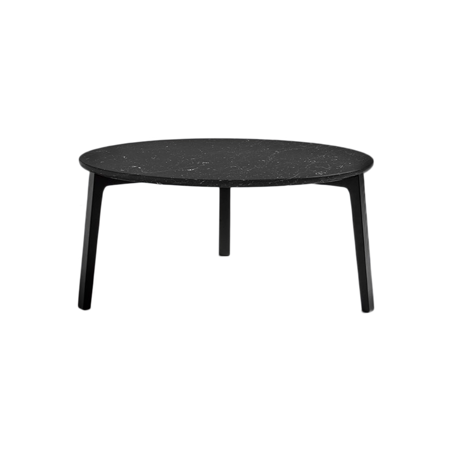 Cot Coffee Table - The Cot tables have been created to interact with the Riquadra seating collection, from which they inherit the cross-section of the leg and its relationship with the top. Envisioned in two sizes, 60 cm and 80 cm, they have tops in marble or lacquered ash wood. The circular tops, with rounded lower borders, are fitted to the particular cross-section of the legs in solid ash wood. The structure is enhanced and reinforced by the characteristic central three-way joint. A range of materials, finishes and sizes are available in a number of combinations.  | Matter of Stuff