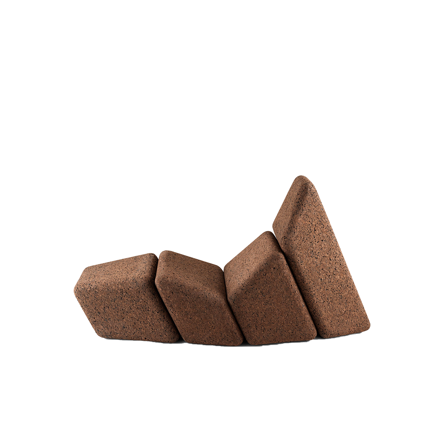 """Cacao Chaise Lounge - It is only used cork of the branches (falca) for the manufacture of cork granules. These are block clusters in autoclave, being 100% natural process, without use of additives. Technology, developed by Sofalca, consists of injecting water vapour through the pallets that will expand and agglutinate with the resins of the cork itself. This """"cooking"""" gives also dark colour to the agglomerated cork, like chocolate. In the production of steam I used biomass, obtained on milling and cleaning the falca, what makes it truly ecological production and without waste, 95% energy self-sufficient. As a super-material, cork offers so many advantages, because in addition to its excellent thermic, acoustic insulation and anti vibration characteristic, it is also a CO2 sink playing a key-role in the environment. 