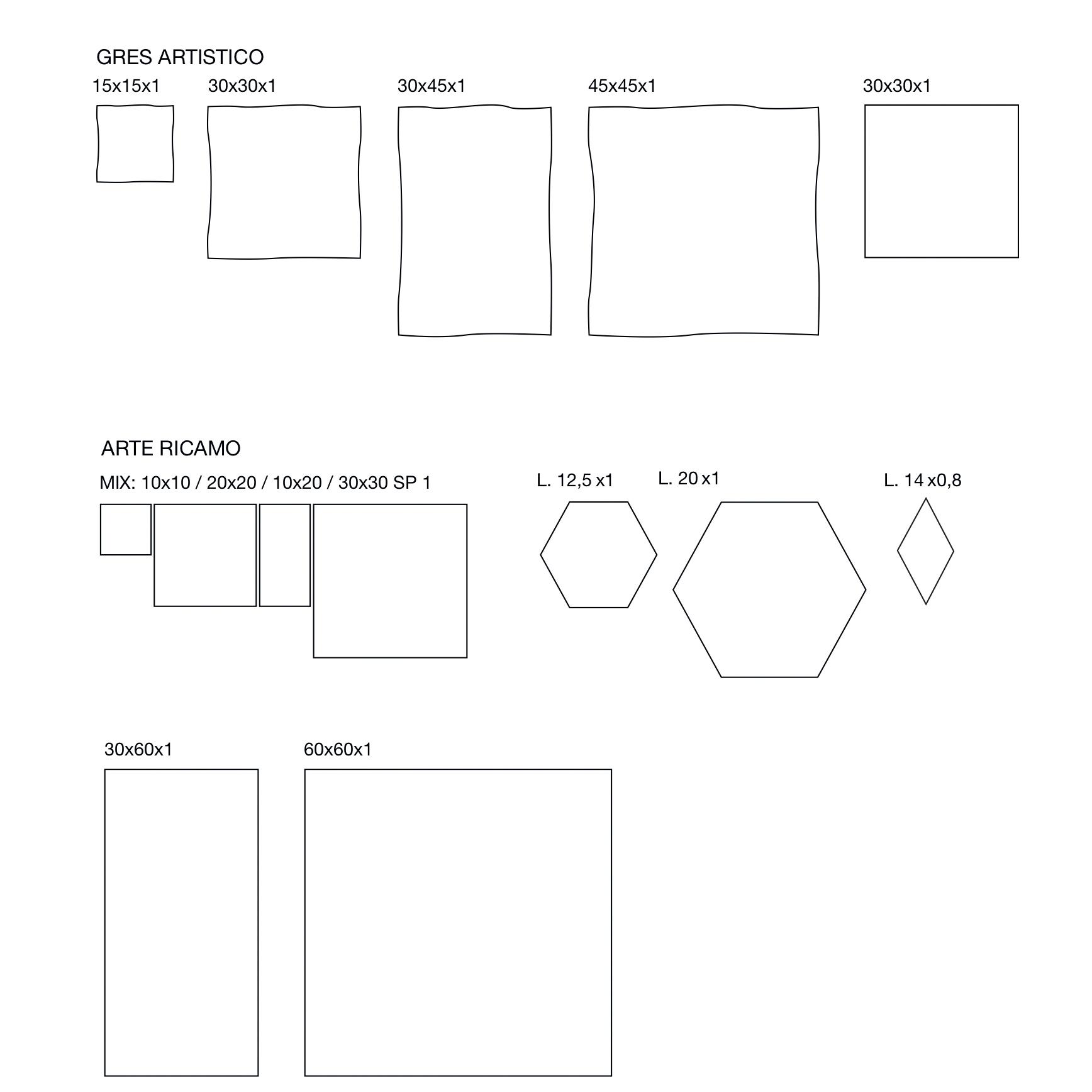 Square Tiles Ricamo Mix Decorations