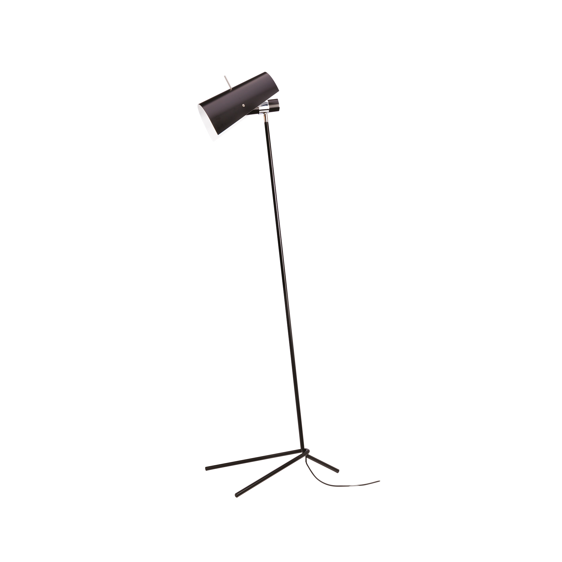 Claritas Floor Lamp - Claritas is the first lamp designed by Vico Magistretti, produced with Mario Tedeschi in 1946. The lamp is made of bent metal tubes, painted in black. Parts of the structure are in chromed metal. Aluminium diffuser painted in black, white in the inner part. Prices are with bulb not included.