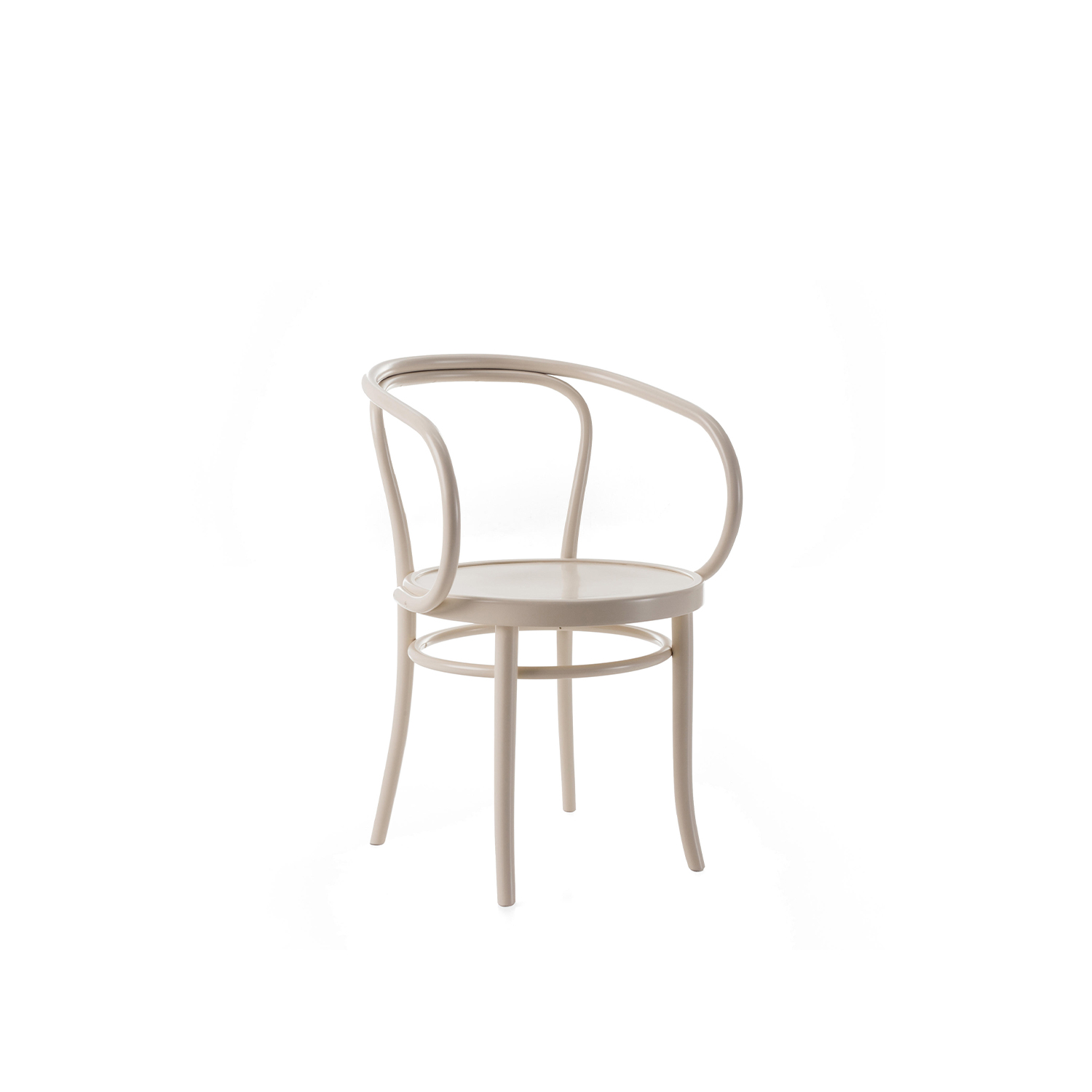 "Wiener Stuhl Armchair - ""A simplified design to create an elegant, comfortable, popular item"". The structure has an all-embracing simplicity, and is formed from just a few elements in steam bent solid beech. The backrest and the back legs are moulded from a single piece of wood. Available with various different seats: woven cane, beech plywood (with or without piercing), or padded and upholstered in leather or fabric to match the backrest.