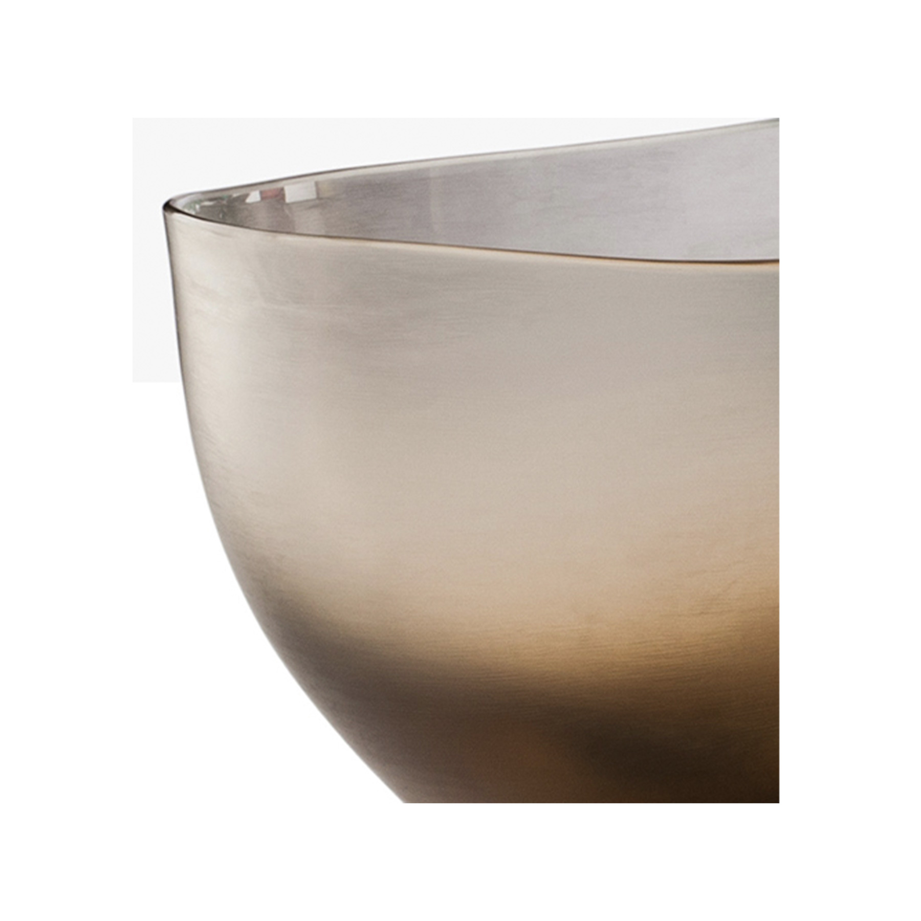 """Incisi Quartz Bowl - Part of the """"Incisi"""" collection, they are named after a complex and sophisticated technique. This glass is cold-engraved with gentle colours, refined and subdued. They invite you to lightly caress them. A multitude of shapes and colours. Apparently, Paolo Venini had a knack for experimenting with Incisi. This exquisite mouth-blown glass vase boasts a striking quartz colour and a wide shape with an asymmetrical rim.  