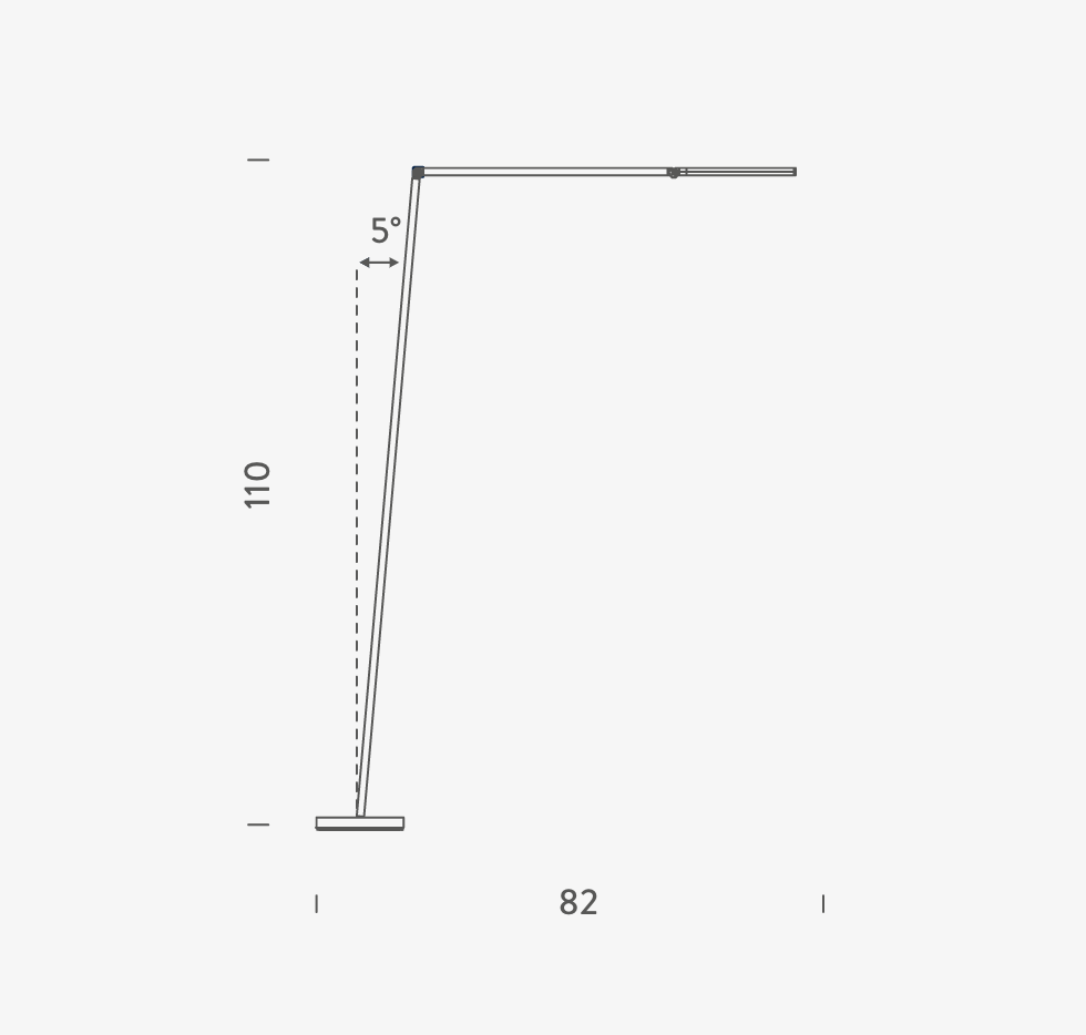 Untitled Reading Linear Floor Lamp - <p>Family of table, floor and wall LED lamps in extruded matt black painted aluminium with joints for flexible and dynamic positioning of the light.<br /> Available in the version with the linear lighting unit in polymer filled with glass fibres that rotate on itself and in the version with a cylindrical spotlight in aluminium. Dimmer on board located on the lamp stem.</p>  | Matter of Stuff