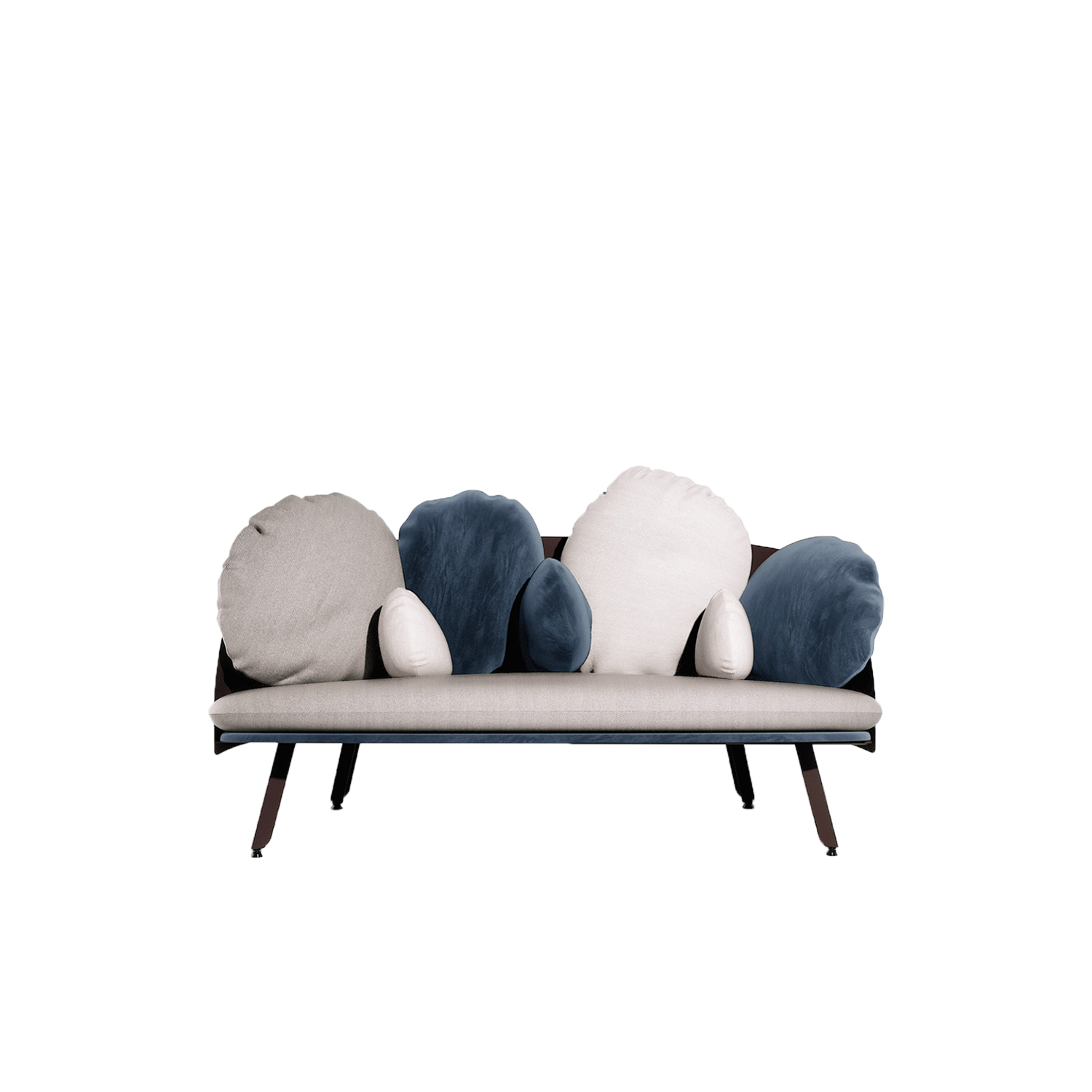 Nubilo Sofa - Designed by Constance Guisset, NUBILO is a sofa and armchair serie in which the multiplication of cushions evokes the image of a cloud. Softness, comfort, velvet, are accentuated by the association of three high quality materials. The cushions vary in their size and form and ask to be played with. Attached to the sofa structure by elastics and pressure they can be moved and repositioned according to desire.  | Matter of Stuff