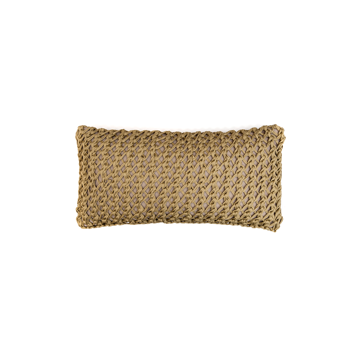 Gaia Neo Cushion Small - The Gaia Neo Cushion is carefully knitted within a trained community of women that found in their craft a way to provide for their families. The outdoor collection is made with synthetic fibres, resistant to weather exposure. The use of neoprene brings comfort and technology to the cushions.  The front panel is in neoprene combined with hand woven nautical cord, made in Brazil.  The inner cushion is in Hollow Fibre, made in the UK.  Please enquire for more information and see colour chart for reference.  | Matter of Stuff