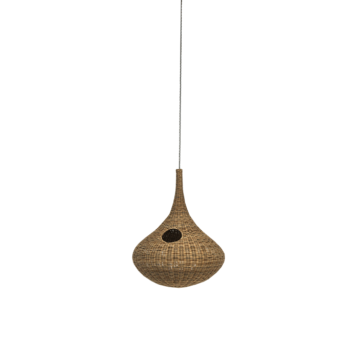 Spin 96 Pendant Lamp - Suspension lamp in natural melange rattan core with wiring max.power 18 W, 220 Volt. Electrical cable length of the lamp is 250 cm and the steel cable length is 200 cm. | Matter of Stuff
